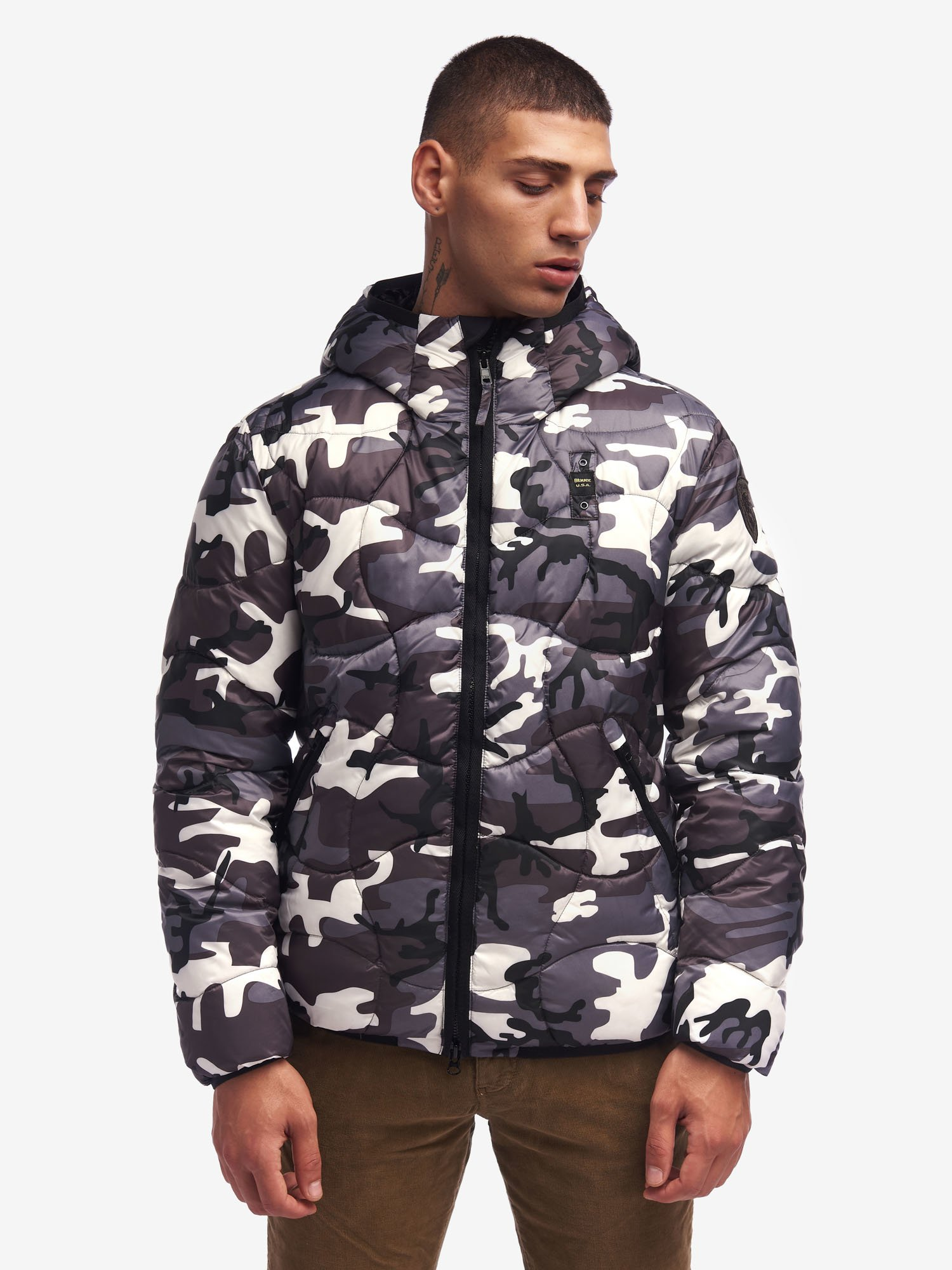 Blauer - ARMSTRONG CAMOUFLAGE DOWN JACKET - Grey Cave - Blauer
