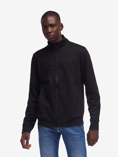 COATED ZIP SWEATSHIRT WITH PATCH
