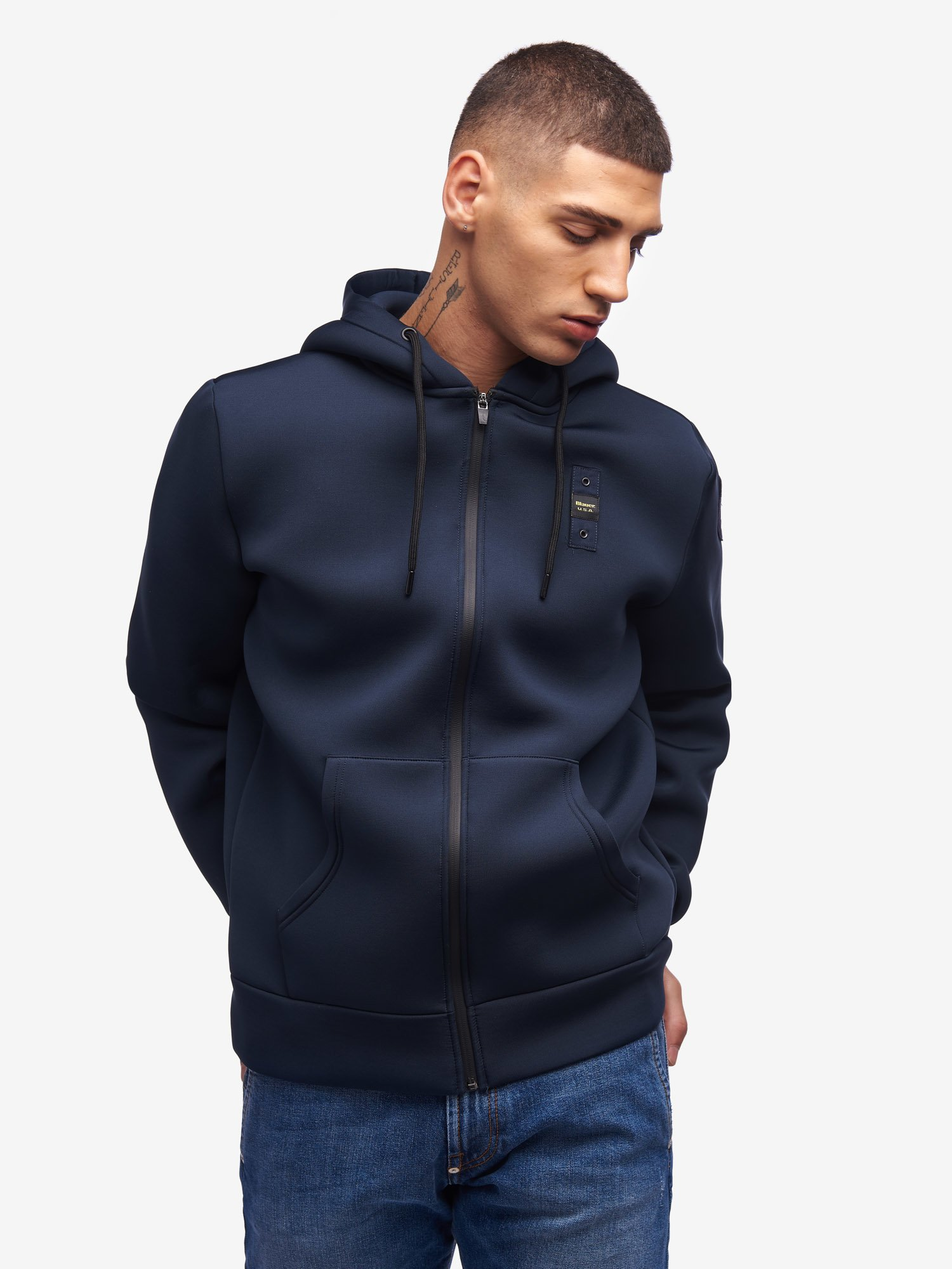 SOLID COLOUR NEOPRENE HOODED SWEATSHIRT - Blauer