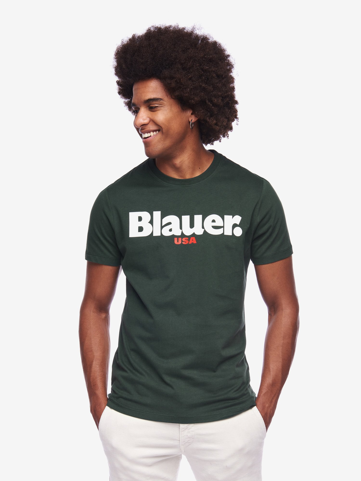 Blauer - LOGO T-SHIRT - Bottle Green - Blauer