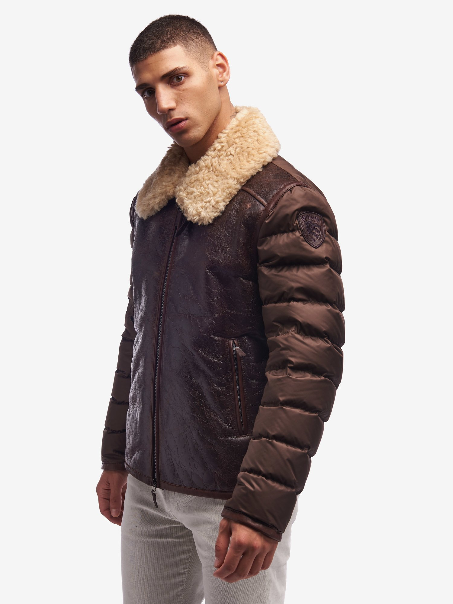 Blauer - CLARKE VINTAGE SHEARLING LEATHER AND NYLON JACKET - Coconut - Blauer