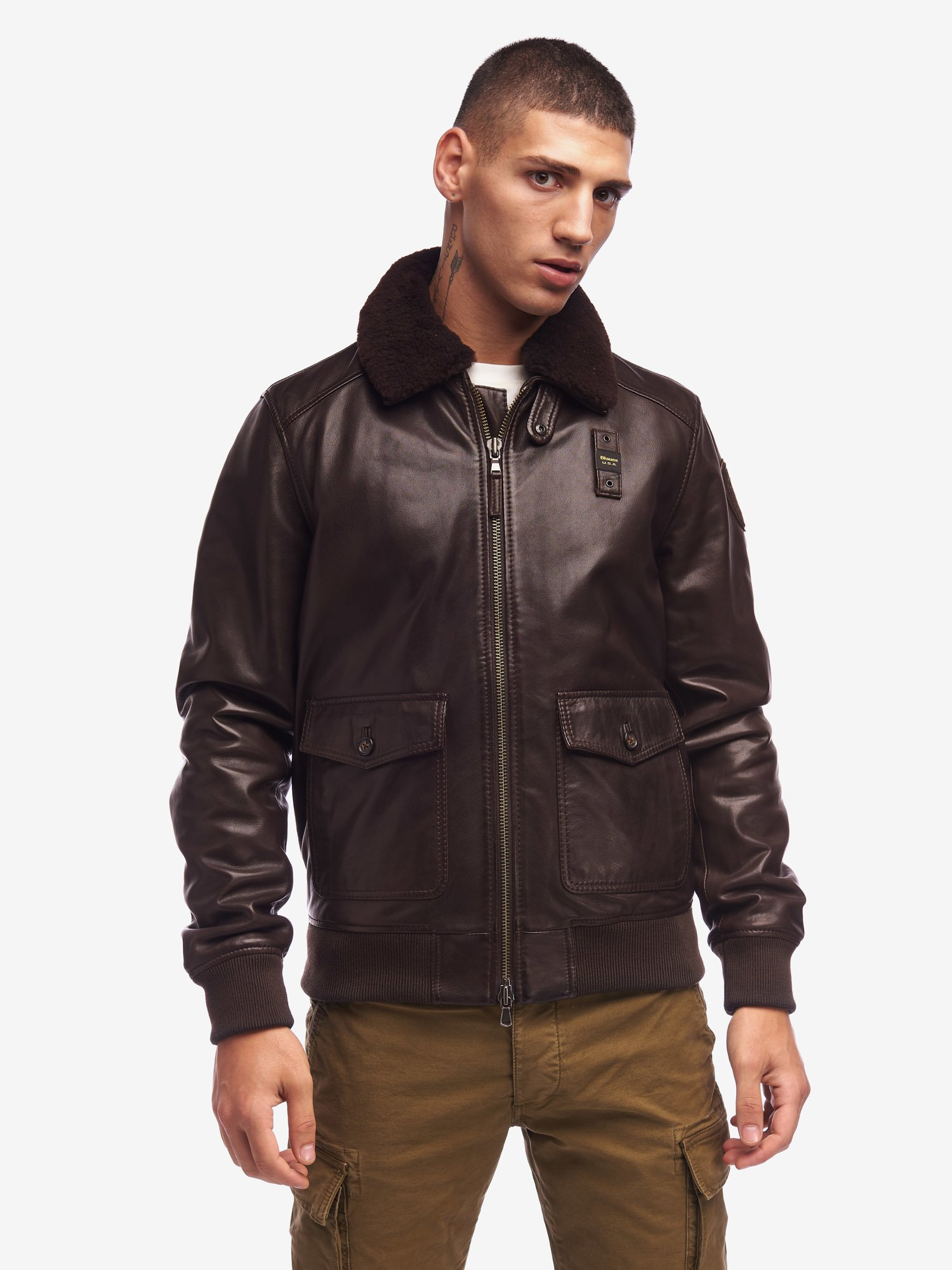 Blauer - BOMBER IN PELLE CON COLLO IN PELLICCIA BAILEY - Buffalo - Blauer