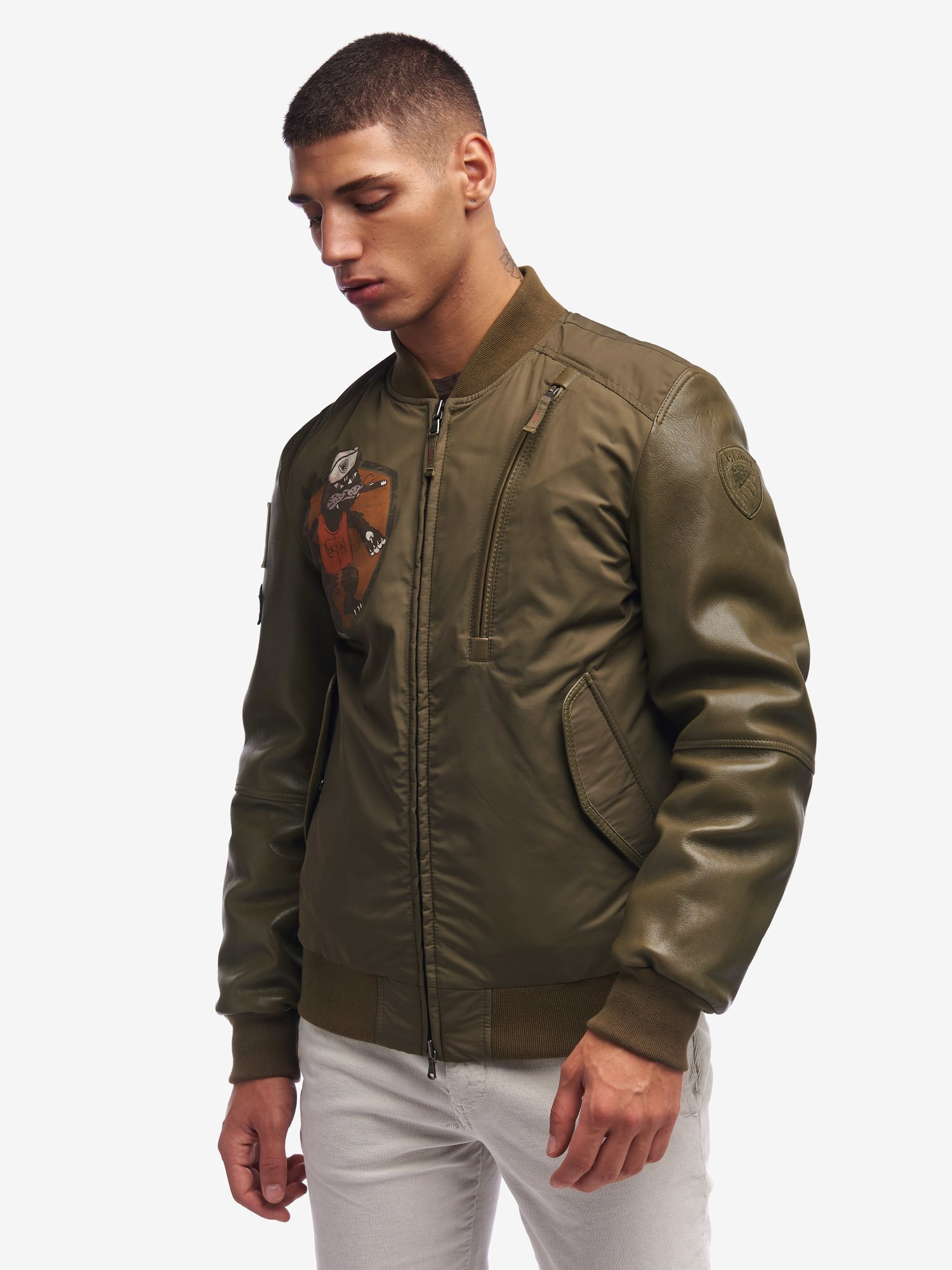 BOMBER IMBOTTITO CON INSERTI IN PELLE GRIFFITHS - Blauer