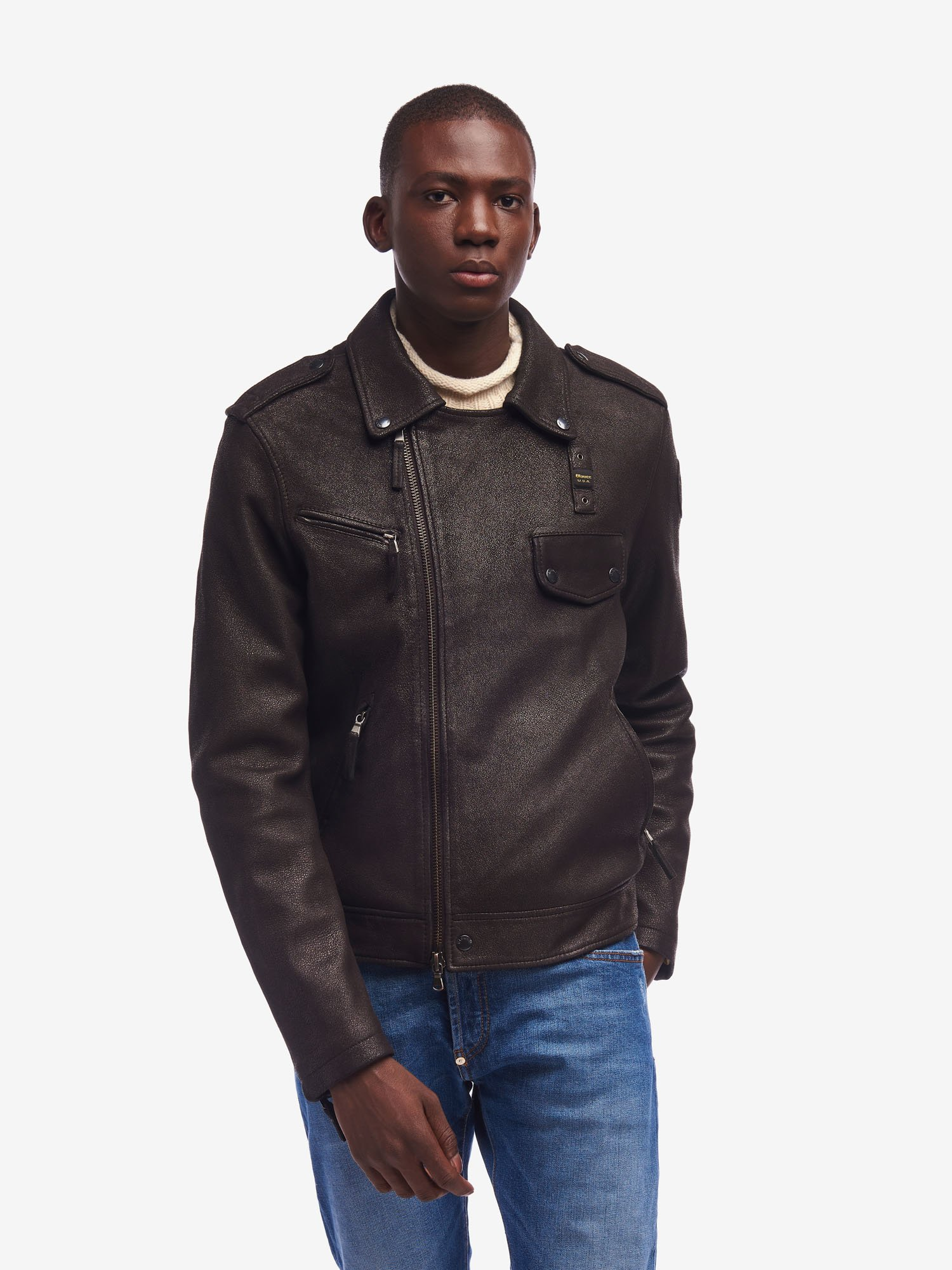 SIMPSON RUGGED LEATHER JACKET - Blauer