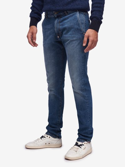 STRETCH DENIM TROUSERS WITH ZIP