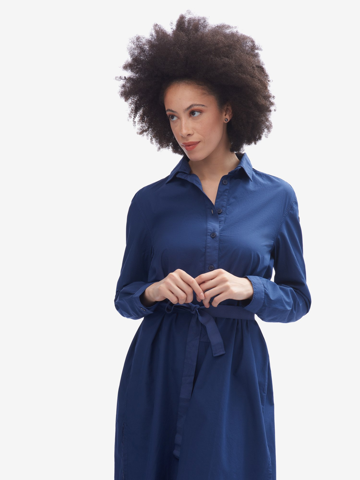SHIRT DRESS CURLED ON THE BACK - Blauer
