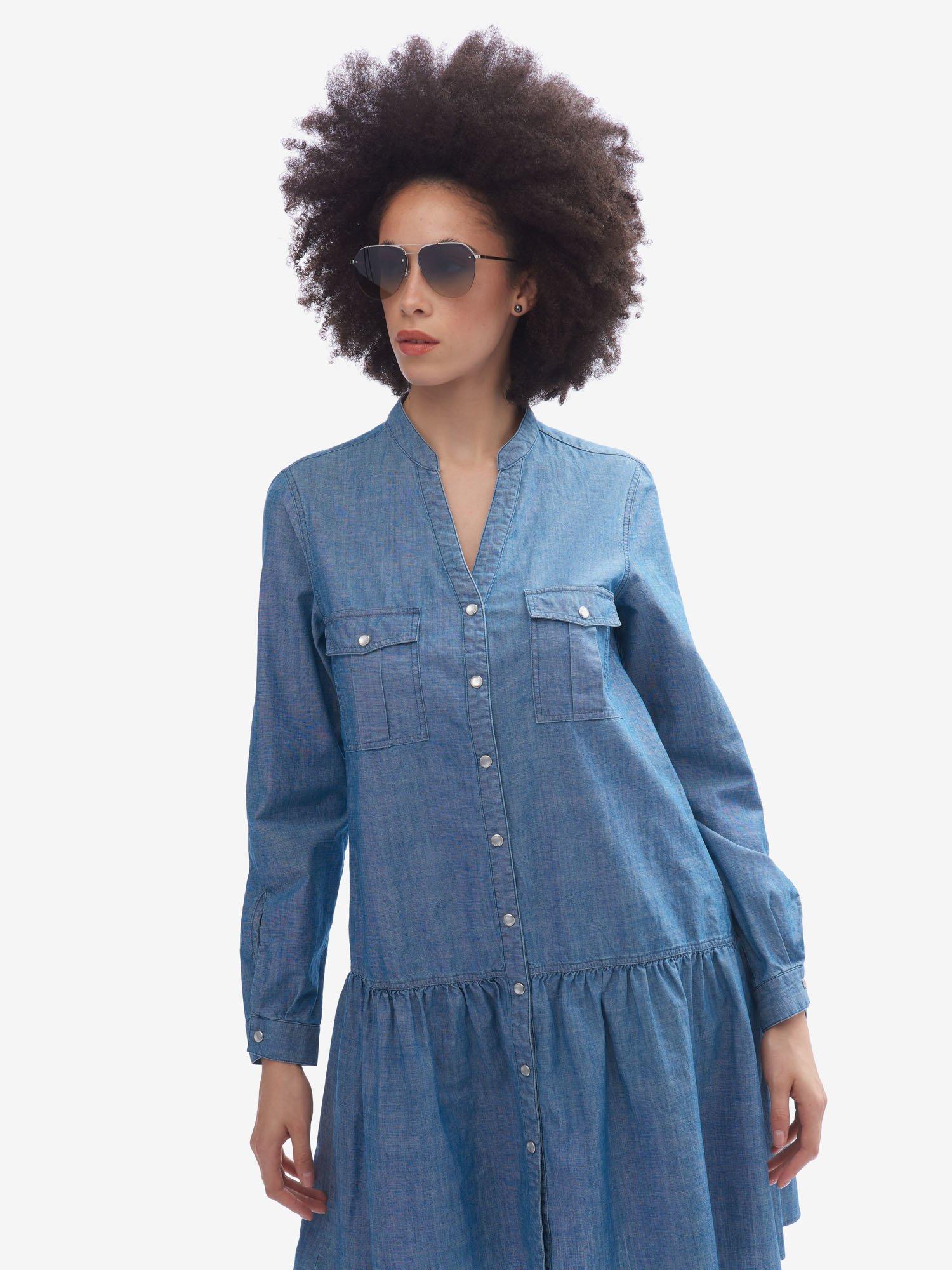 LONG-SLEEVED DENIM DRESS - Blauer