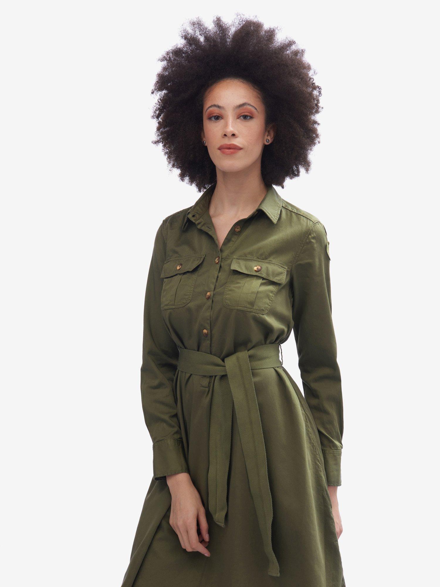 Blauer - LONG-SLEEVED COTTON DRESS - Pine Cone Green - Blauer
