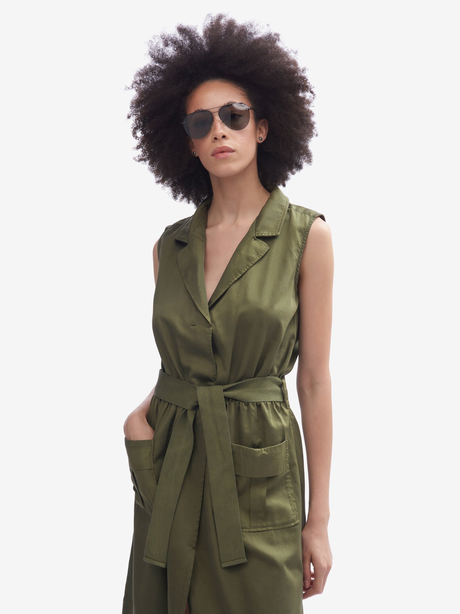 SAFARI BUTTON-DOWN MIDI DRESS - Blauer