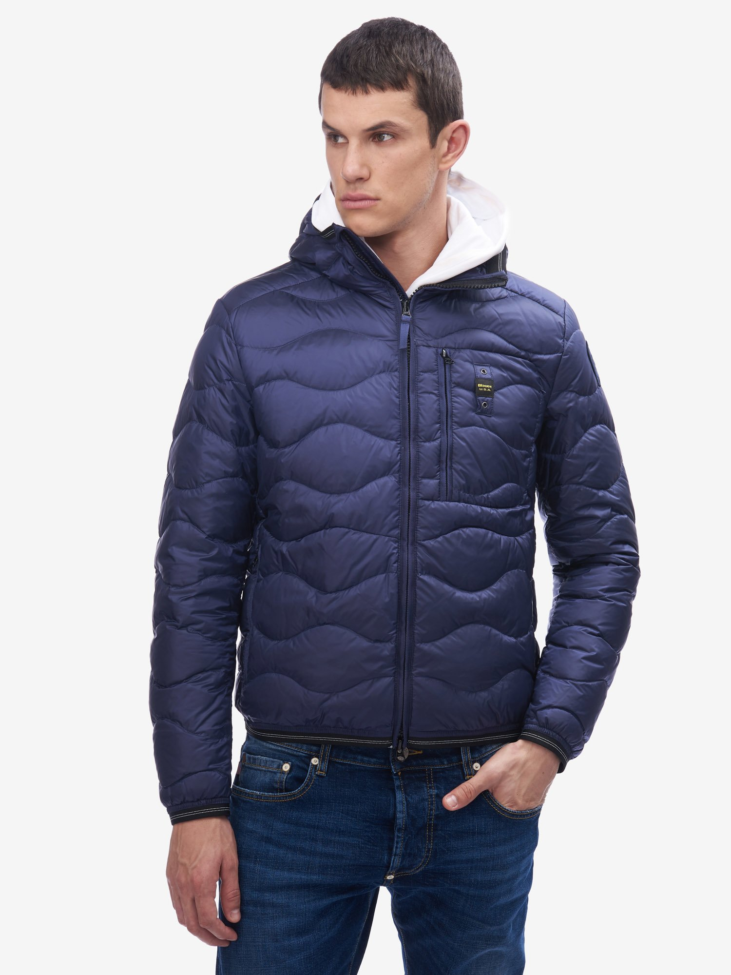 Blauer - BOLTON HORIZONTAL WAVE-QUILTED DOWN JACKET WITH HOOD - Blue Sapphire - Blauer