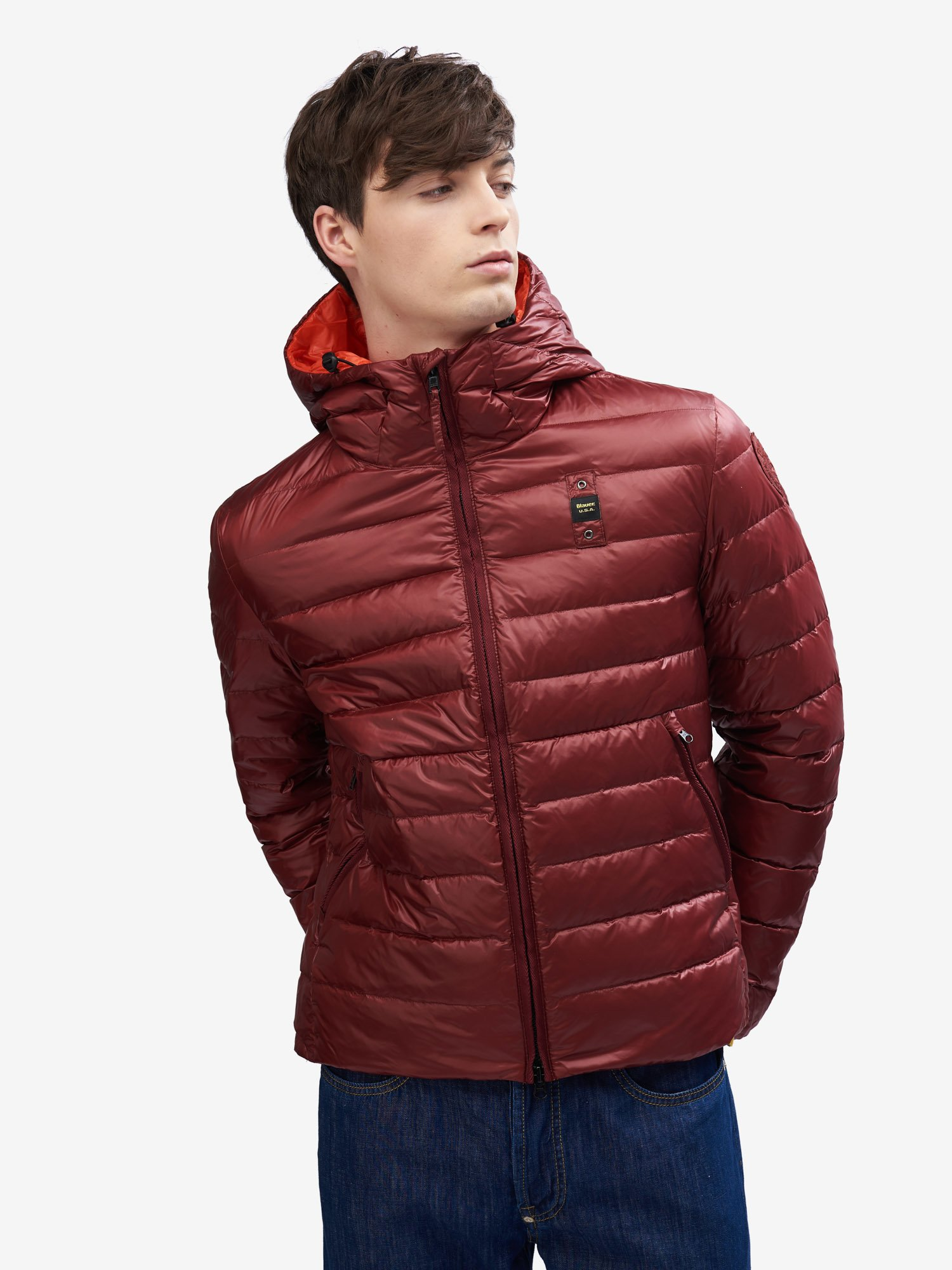 BASIC NYLON DOWN JACKET WITH POTTER HOOD - Blauer