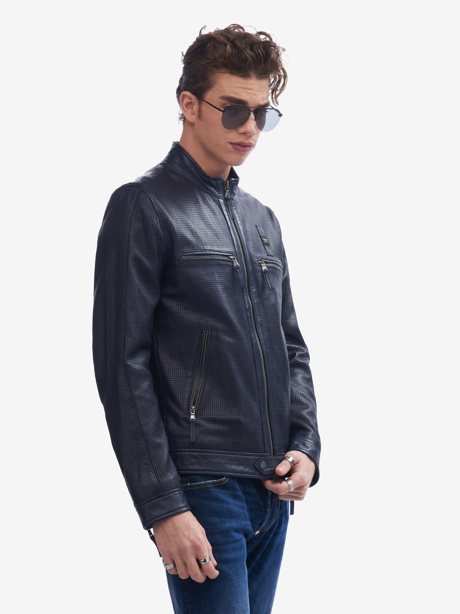 DONNELLY PERFORATED LEATHER JACKET - Blauer