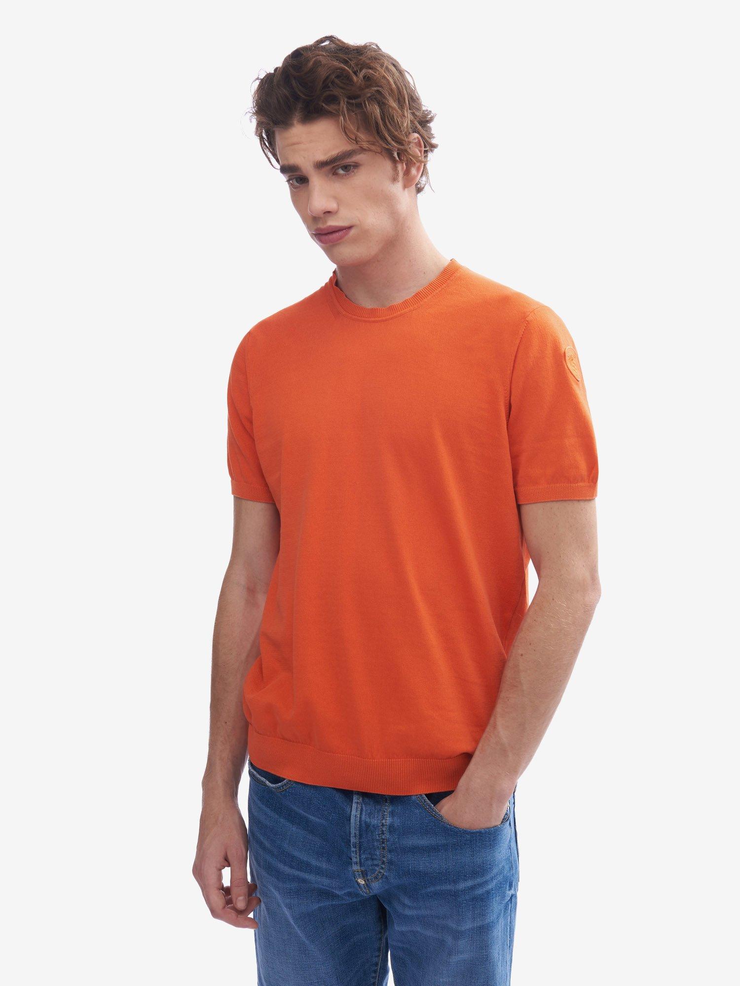 Blauer - SHORT SLEEVE COTTON SWEATER - Bright Orange - Blauer