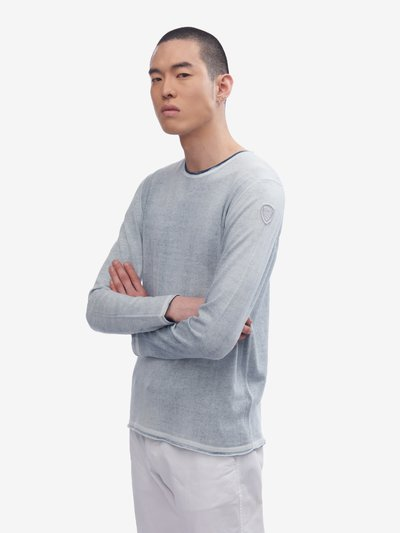 TWO-TONE EFFECT PLAIN KNIT SWEATER