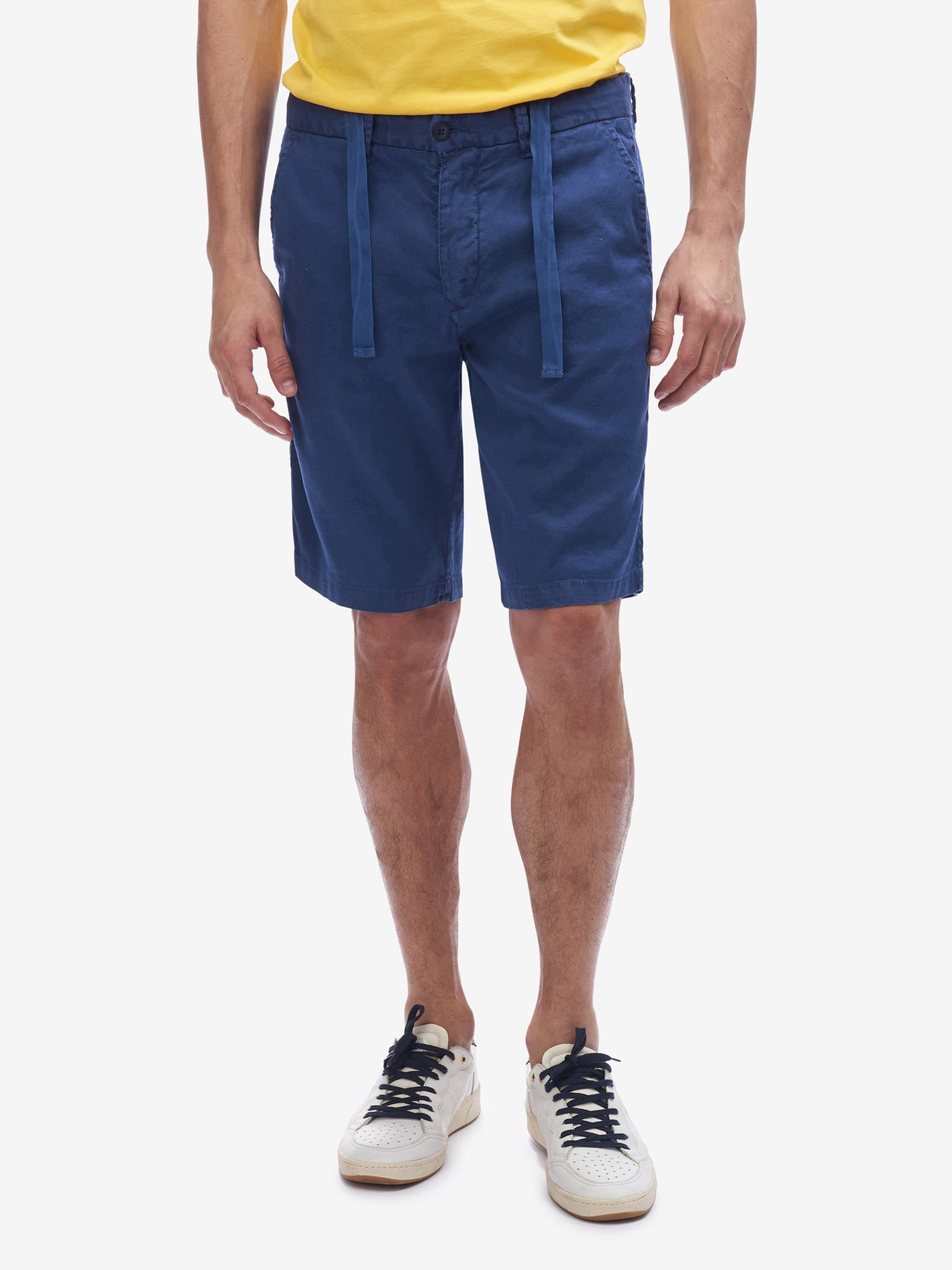 Blauer - LINEN AND COTTON BERMUDA SHORTS - Blue Sapphire - Blauer