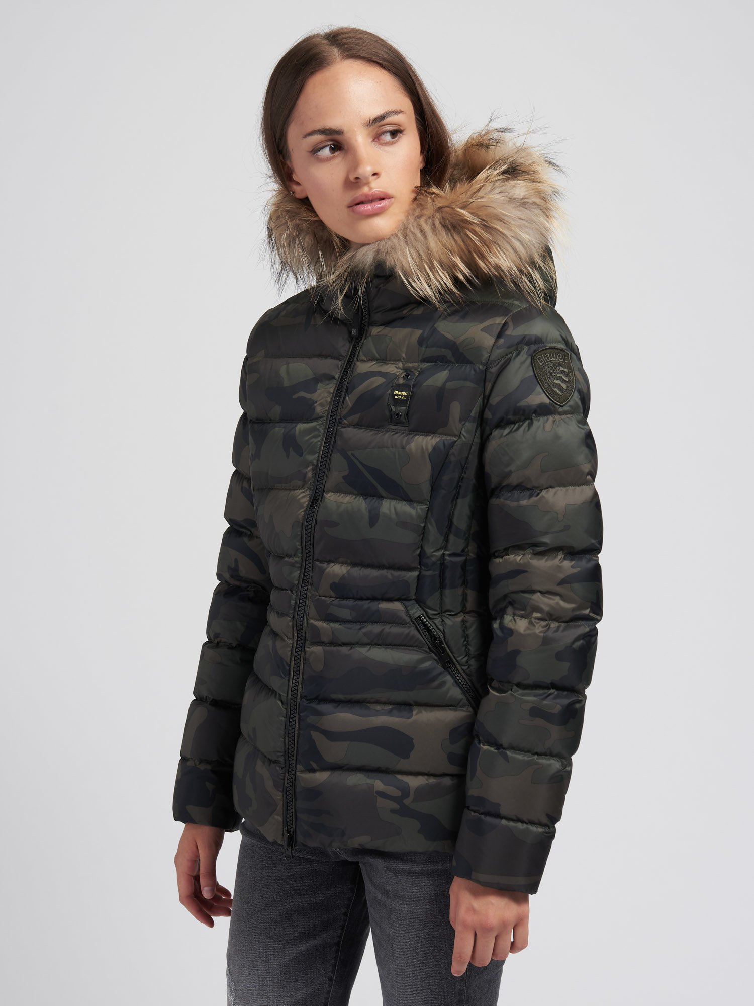 Blauer - MARTHA FLARED CAMOUFLAGE DOWN JACKET - Green Forest - Blauer
