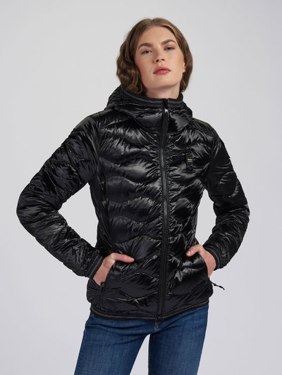 ANGELA SHINY WAVE-QUILTED DOWN JACKET