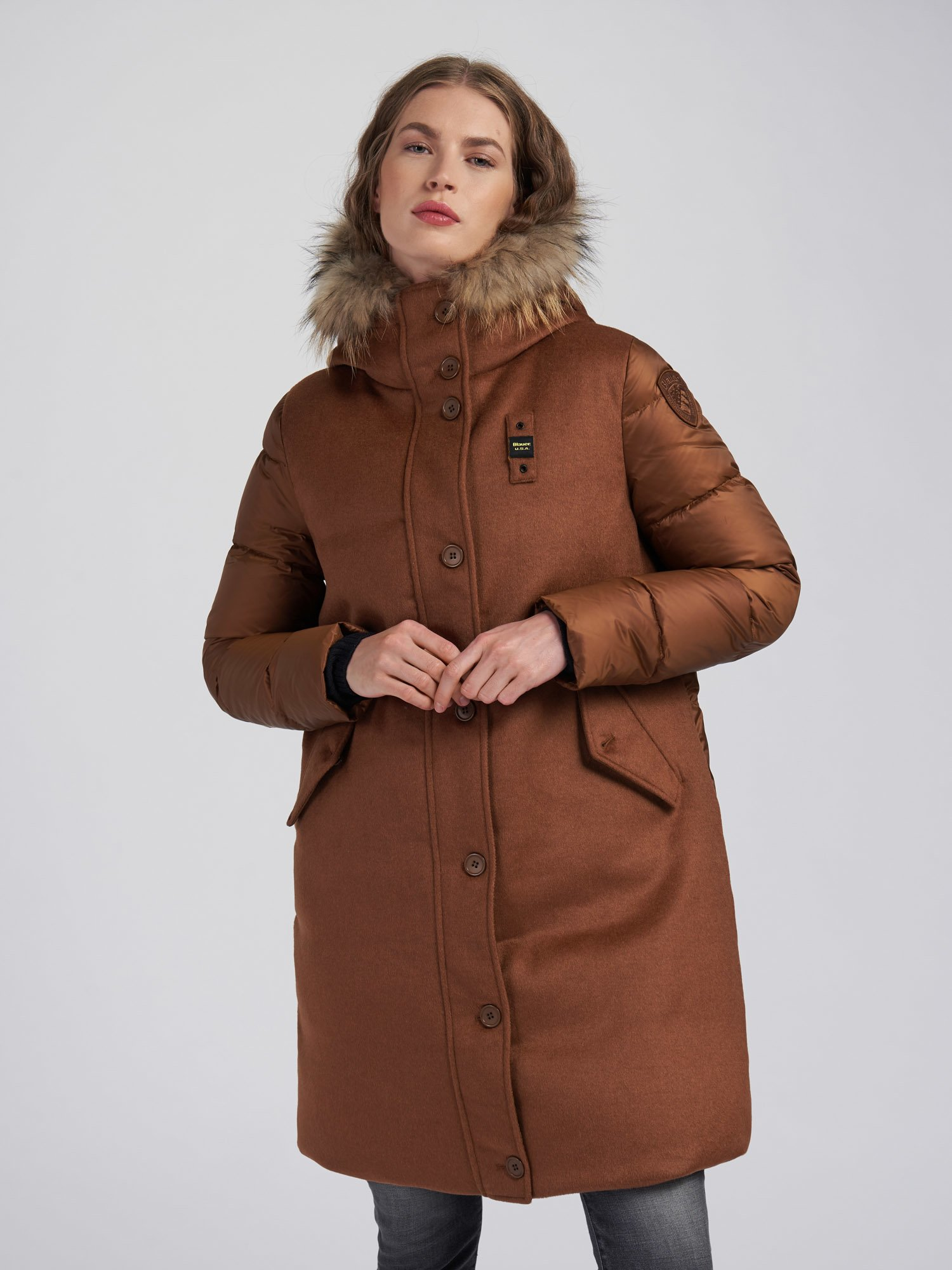 Blauer - JULIE LONG WOOL BLEND DOWN COAT - Dachsund - Blauer