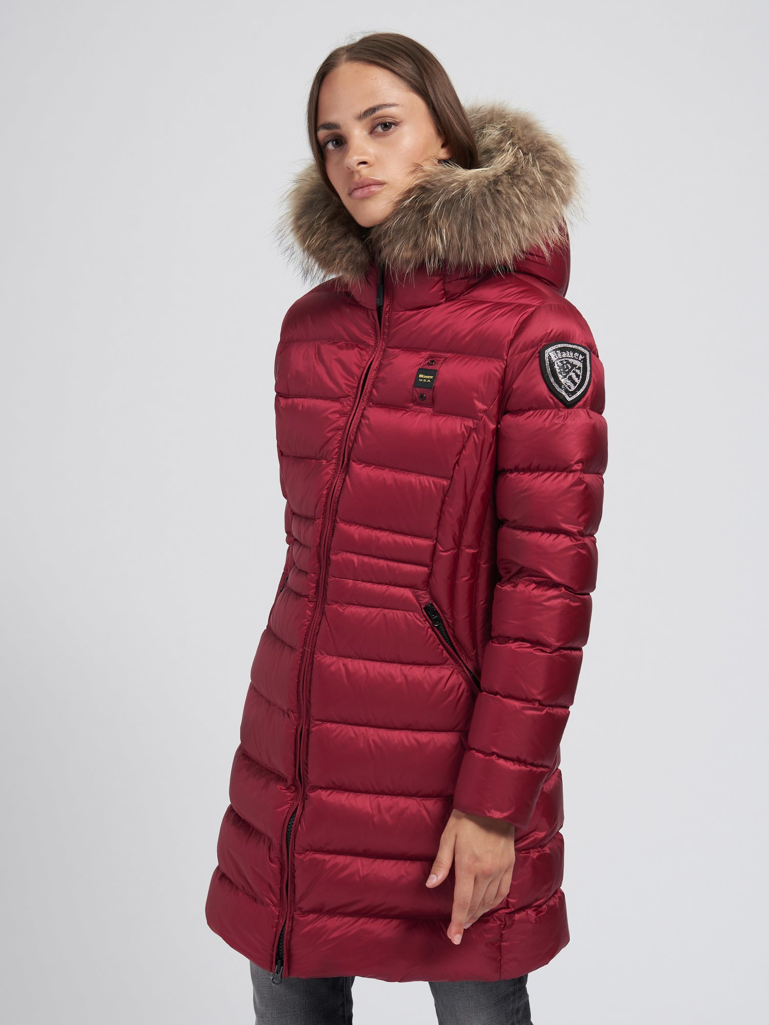 Blauer - EVELYN FLARED LONG DOWN JACKET - Red Raspberry - Blauer