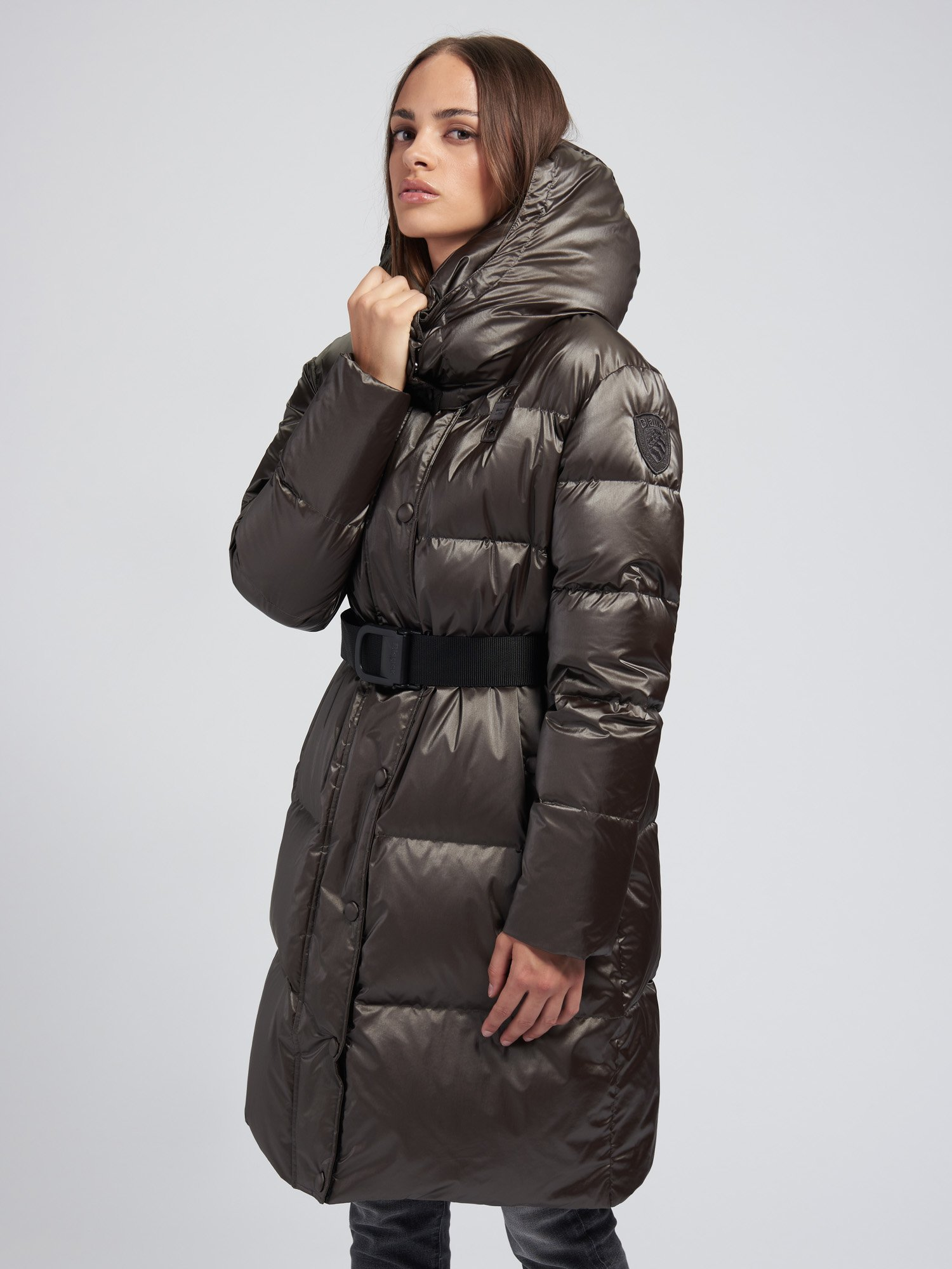HEATHER PEARLY LONG DOWN JACKET WITH BELT - Blauer