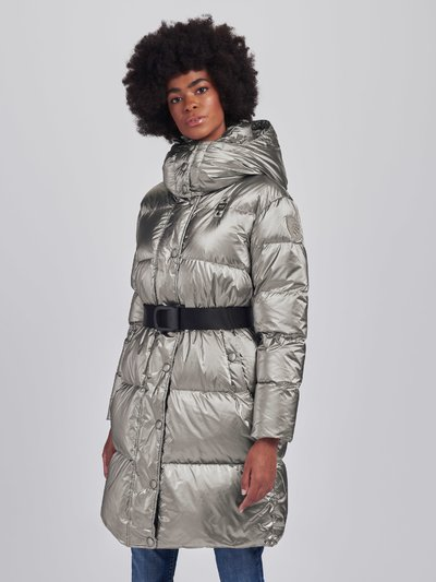 HEATHER PEARLY LONG DOWN JACKET WITH BELT