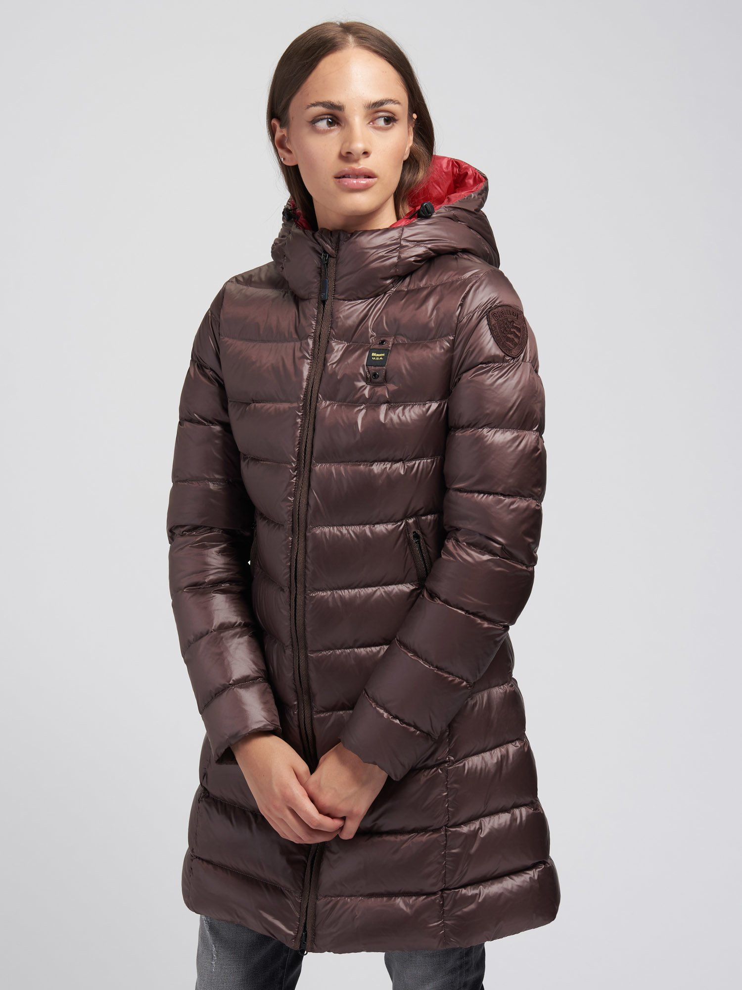 Blauer - CATHERINE LIGHTWEIGHT LONG DOWN JACKET - Marron Glace Ins. Red - Blauer