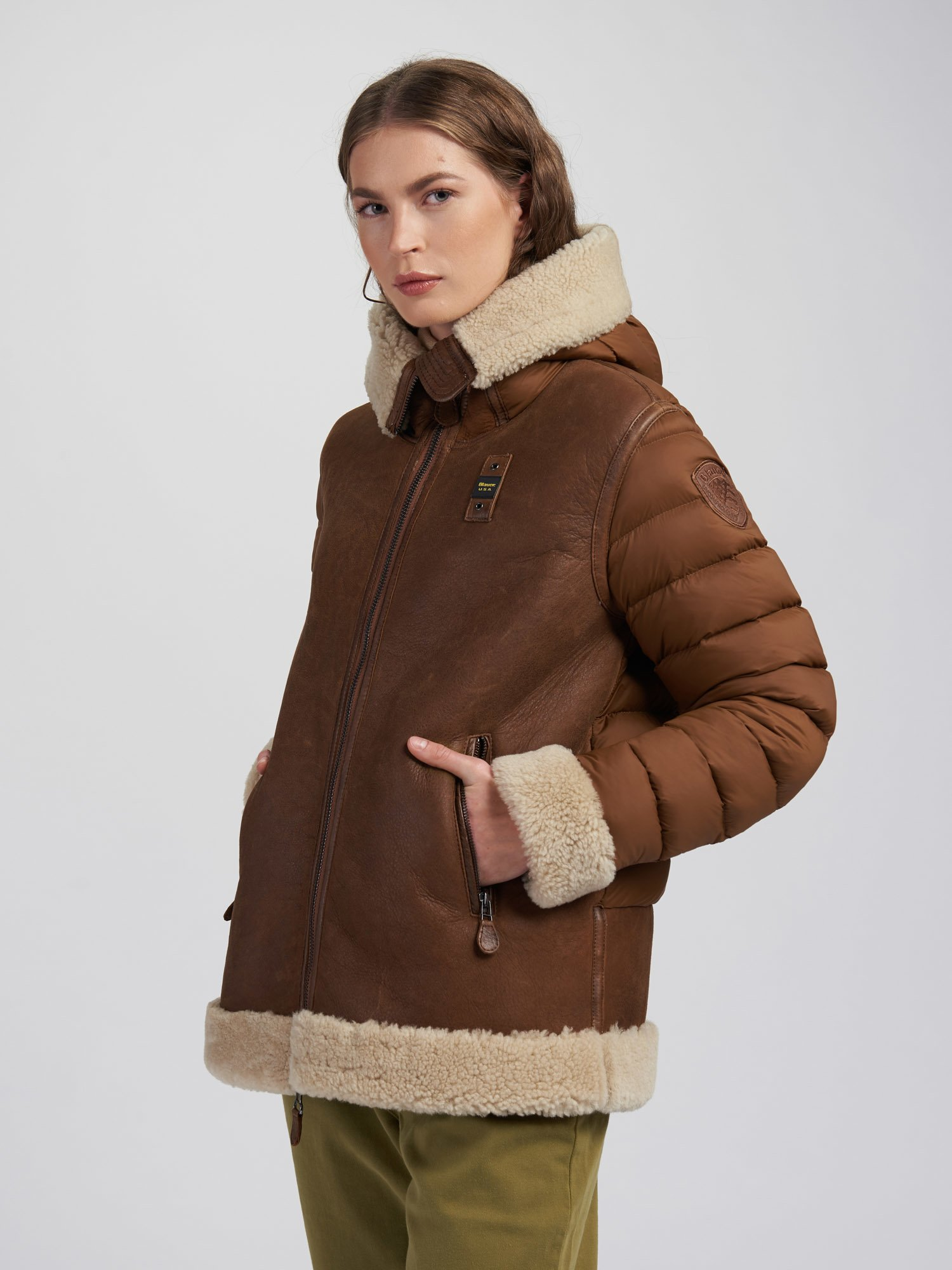 LINDA SUEDE SHEARLING WITH HOOD - Blauer