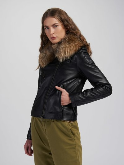 NANCY BIKER JACKET WITH FUR COLLAR