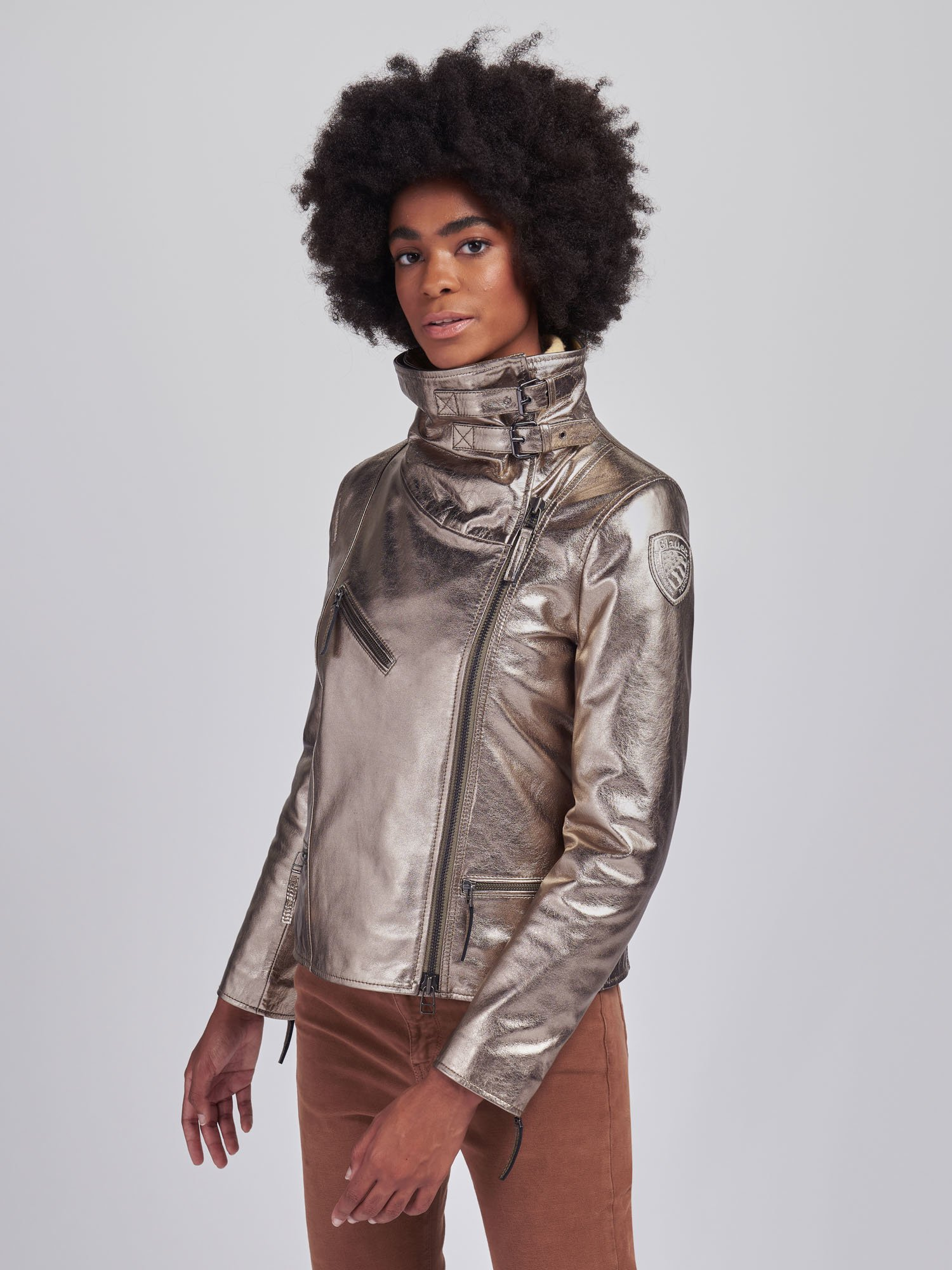 SUSAN METALLIC LEATHER BIKER JACKET - Blauer