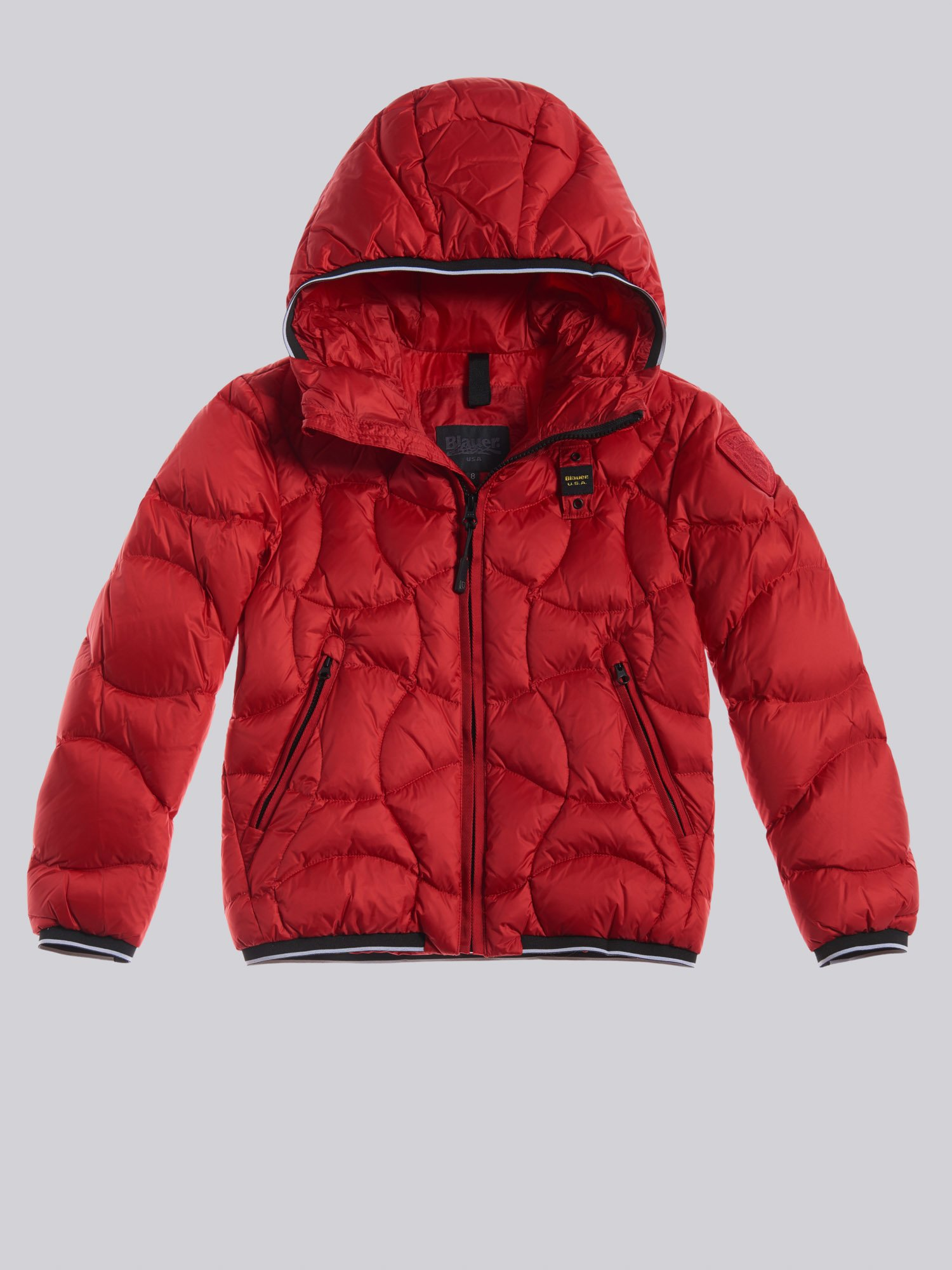 Blauer - DALE CROSSED-WAVE DOWN JACKET - Red Bloode - Blauer