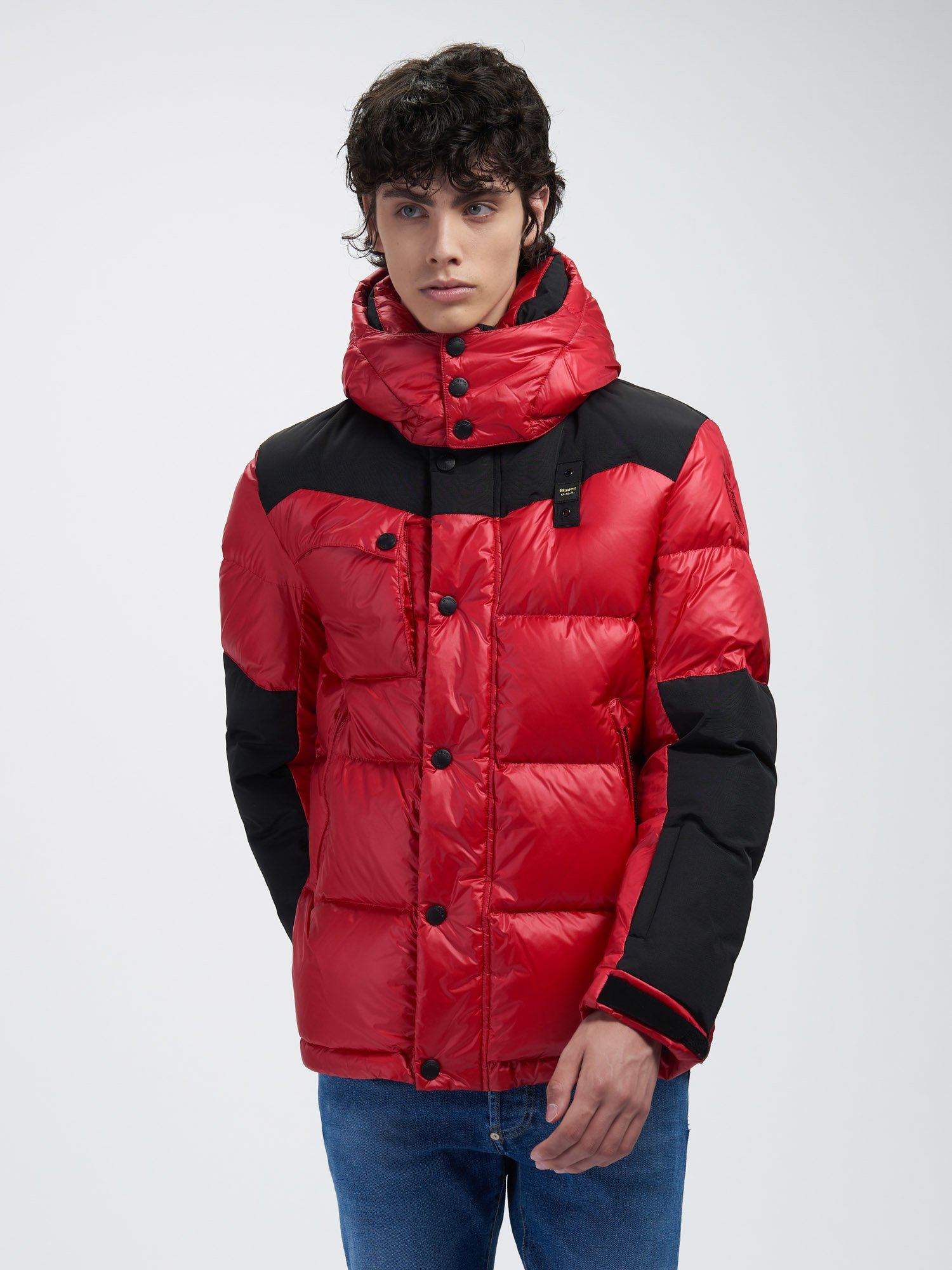 Blauer - ARTHUR DOWN JACKET IN SHINY NYLON AND TASLAN - Red Bloode - Blauer