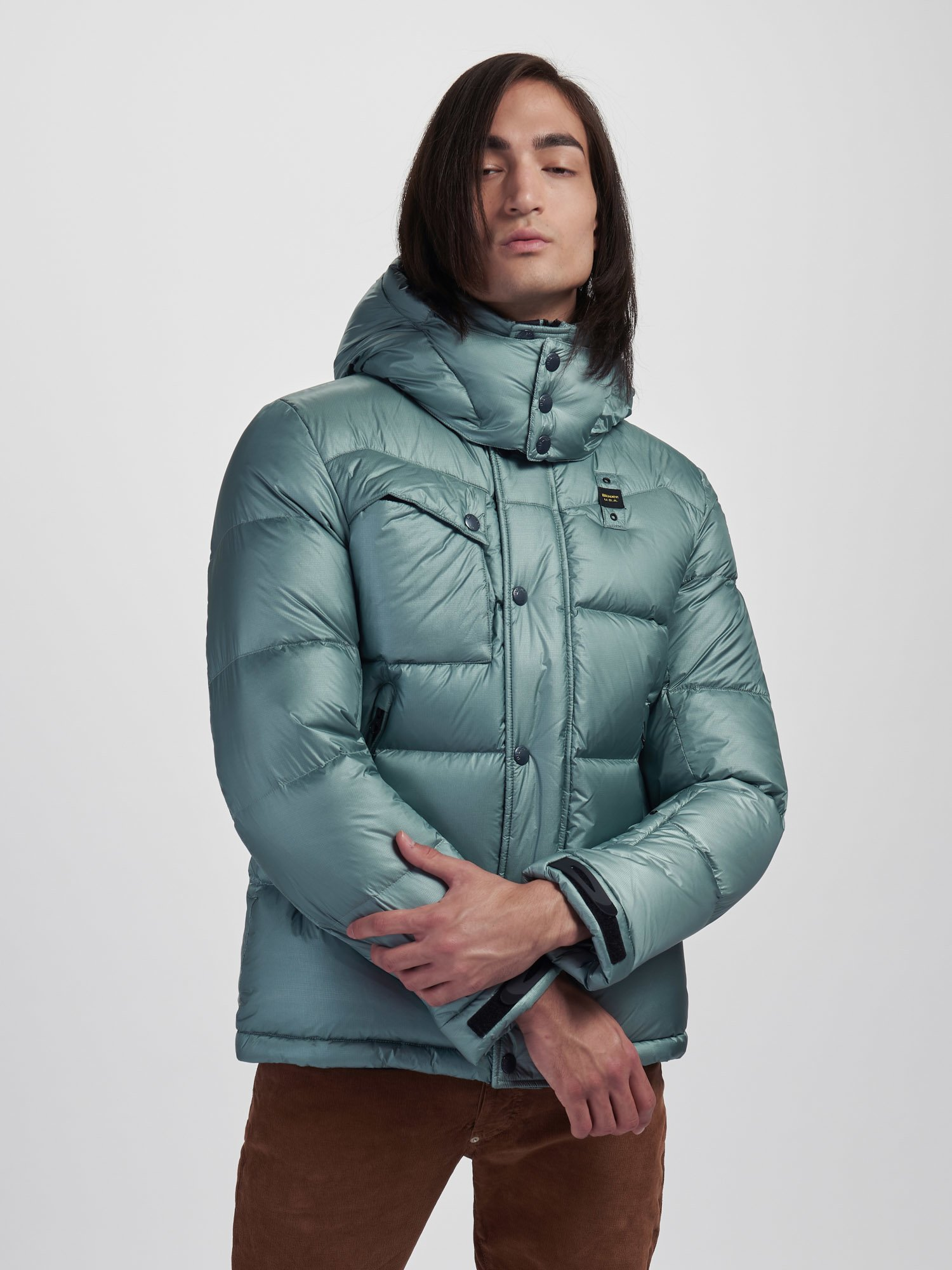 DOUGLAS DOWN JACKET WITH DETACHABLE HOOD - Blauer