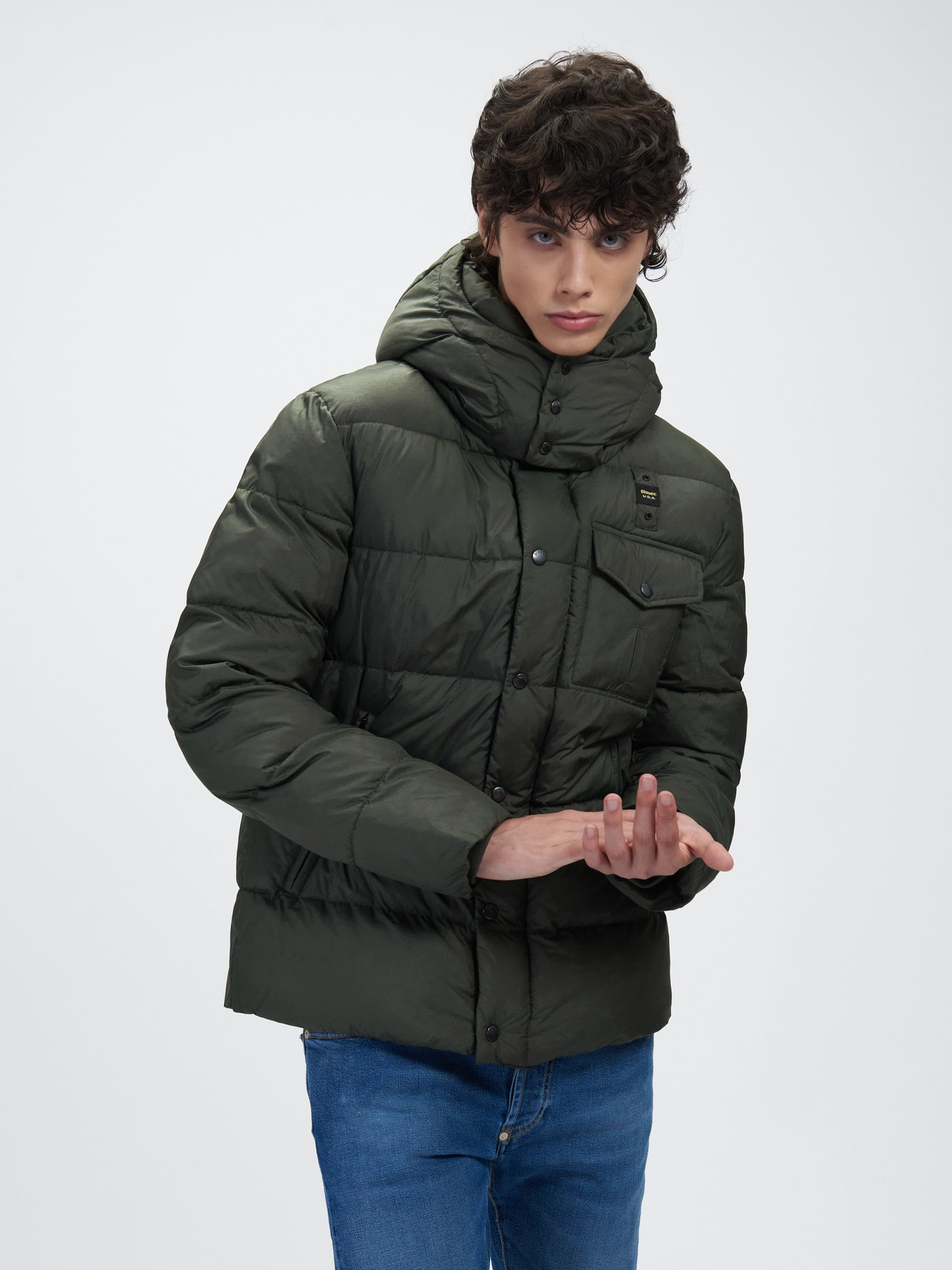 Blauer - STEVE JACKET WITH MIXED PADDING AND DETACHABLE HOOD - Wild Linden - Blauer