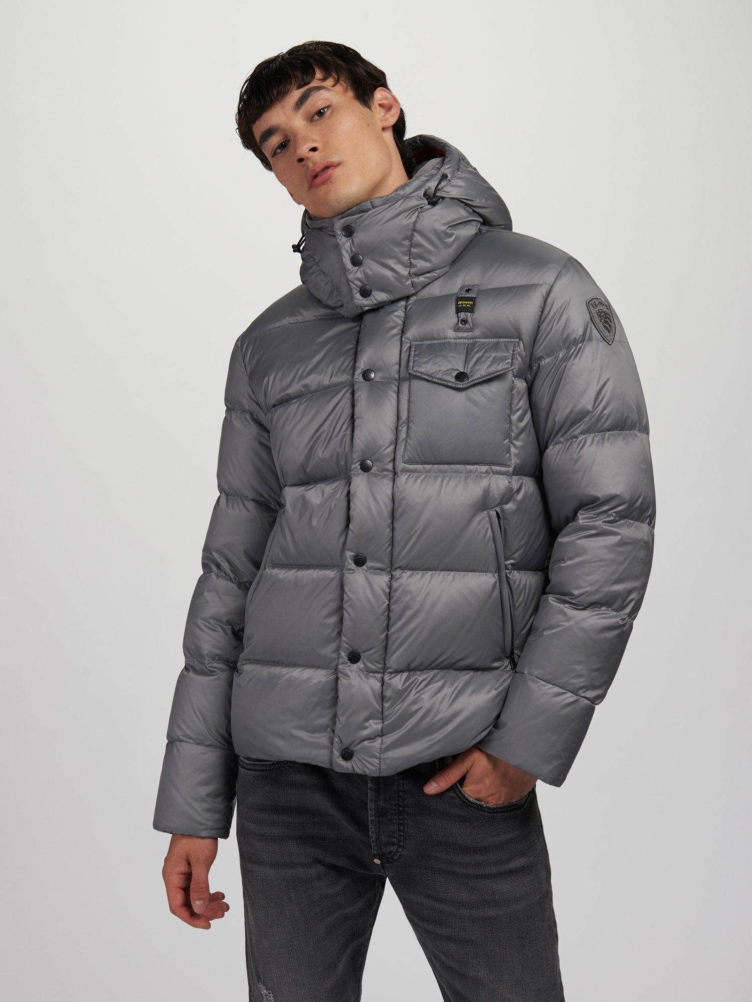 Blauer - LAWRENCE DOWN JACKET WITH DETACHABLE HOOD - Grey Ins. Red - Blauer