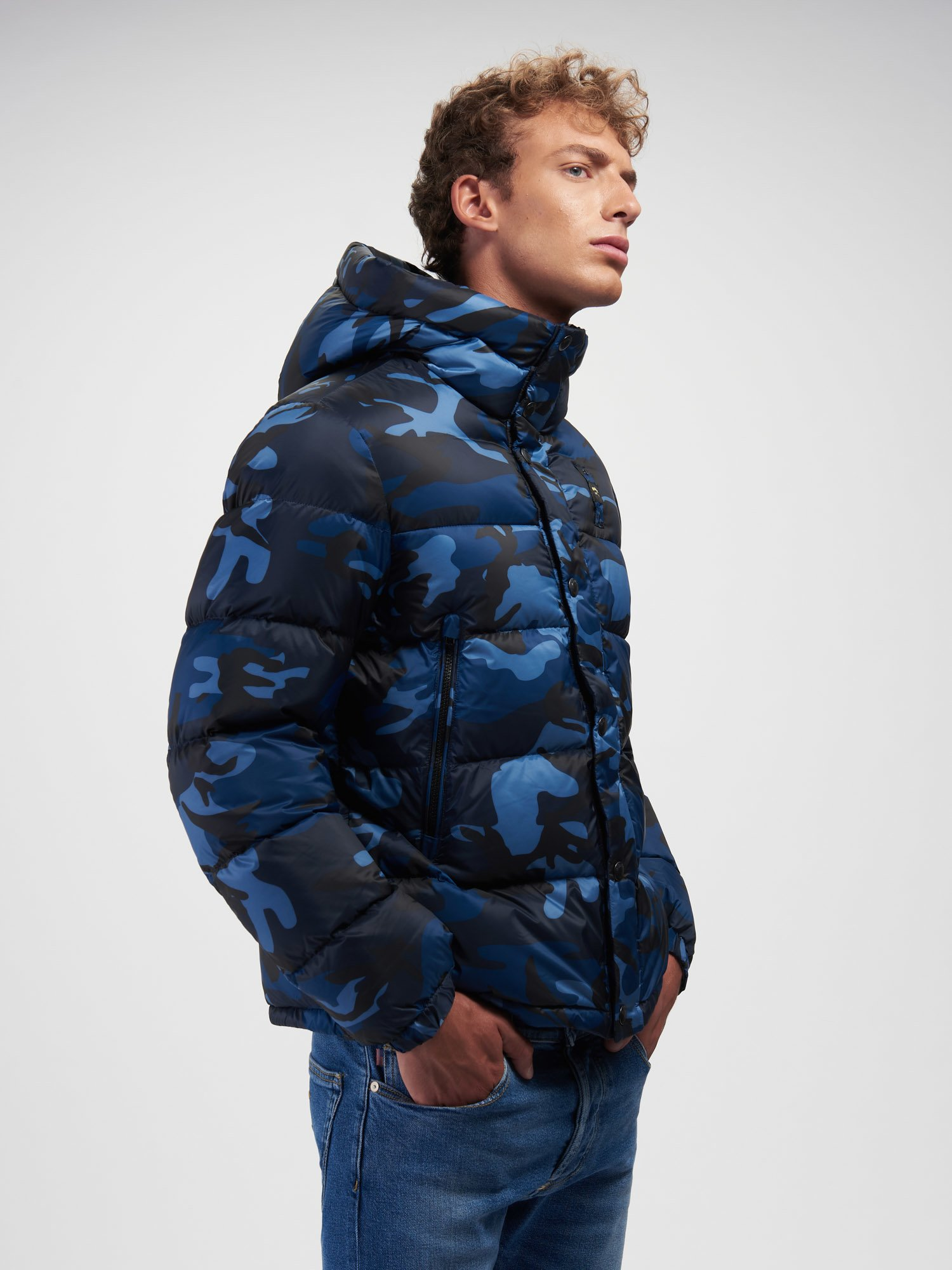 Blauer - LOUIS CAMOUFLAGE DOWN JACKET - blue - Blauer