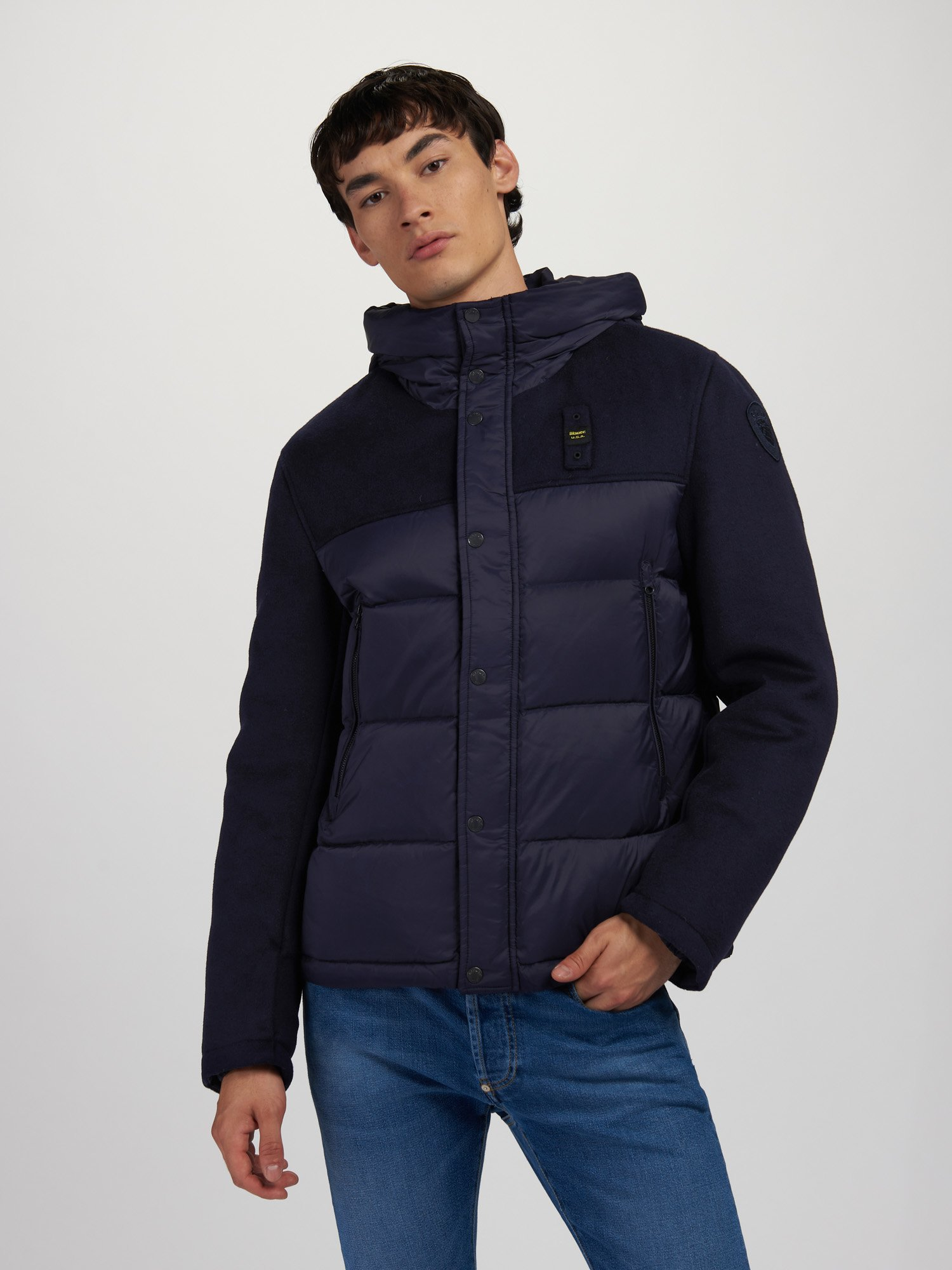 CARLOS WOOL AND NYLON DOWN JACKET - Blauer