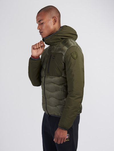 BOBBY NYLON AND NEOPRENE DOWN JACKET WITH HOOD