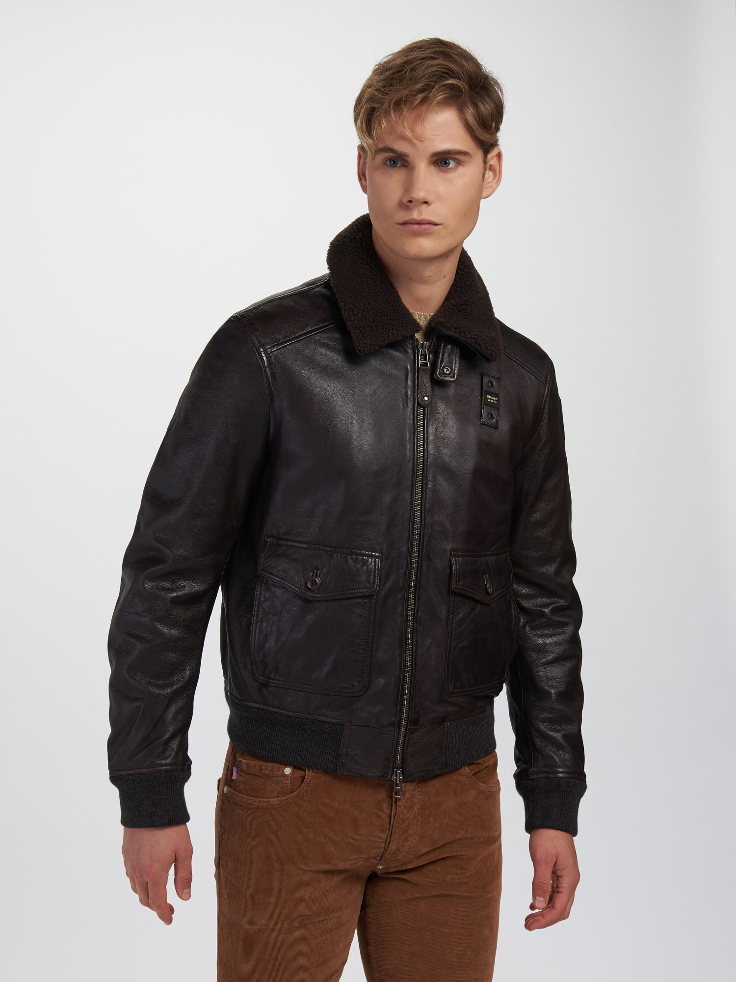 Blauer - BOMBER CON COLLETTO PETER - Brown - Blauer