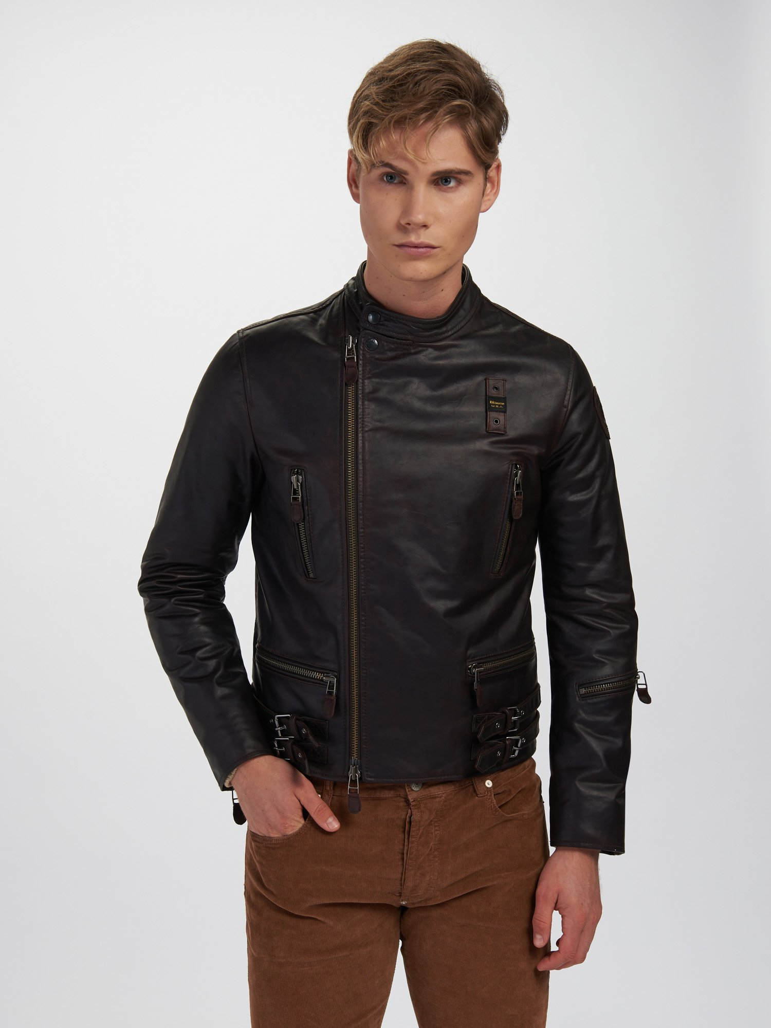 JOSHUA MULTI POCKET LEATHER JACKET - Blauer