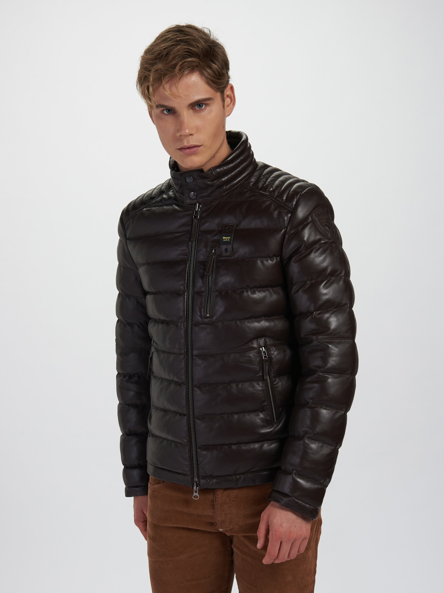 HAROLD CAMOUFLAGE LEATHER DOWN JACKET - Blauer