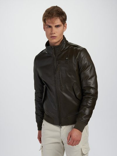 DENNIS LEATHER BOMBER JACKET WITH HIGH NECK