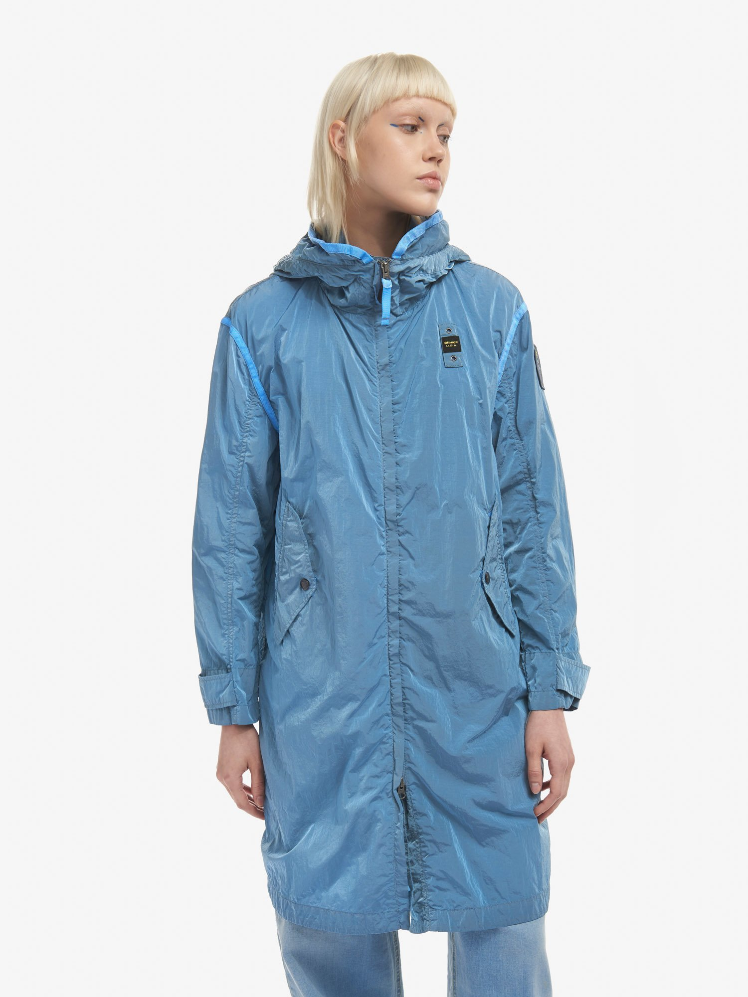 CINDY LONG GARMENT DYED NYLON TRENCH COAT - Blauer