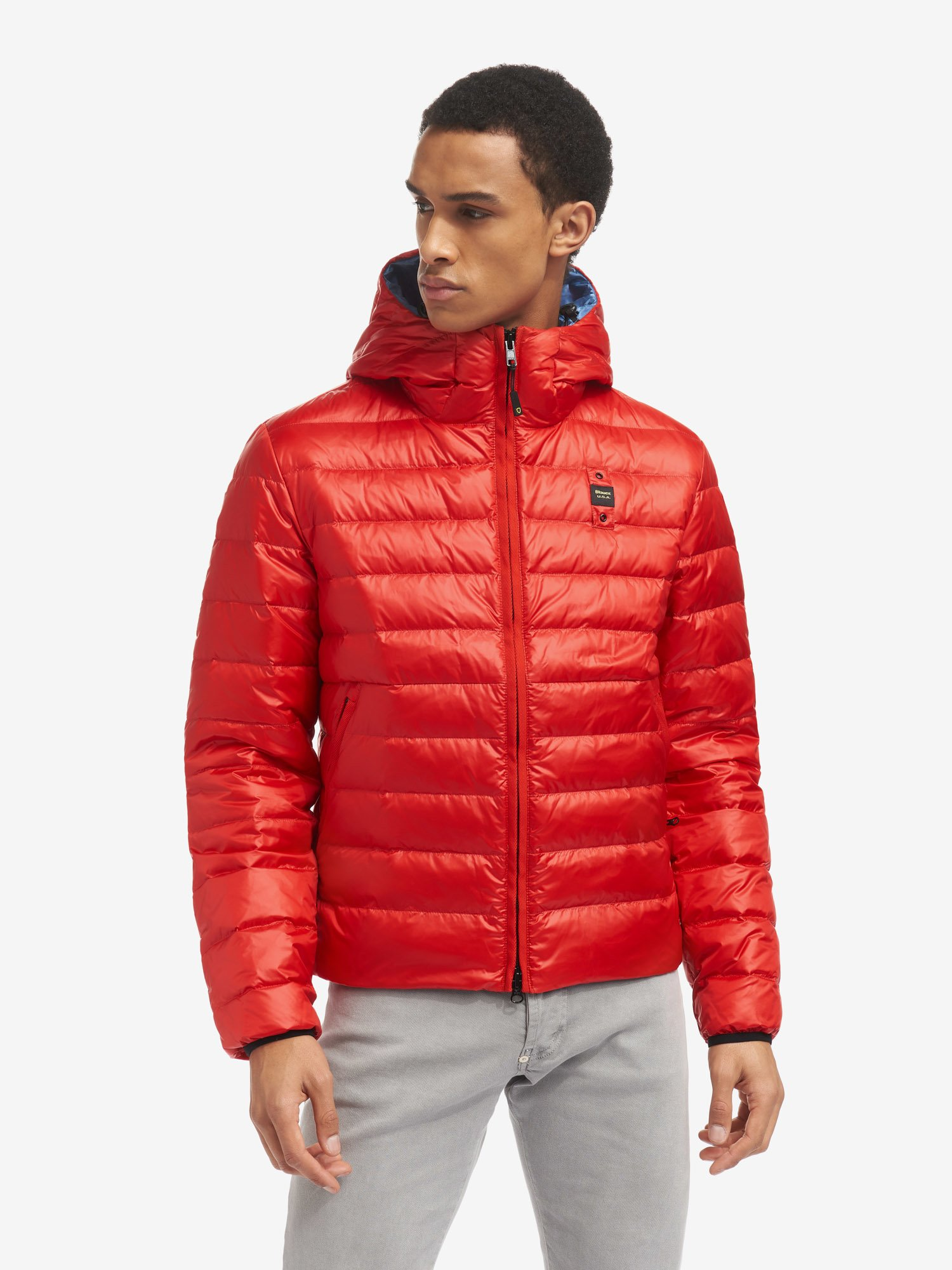 Blauer - JACOB SHINY STRIPED DOWN JACKET WITH HOOD - Bright Red - Blauer