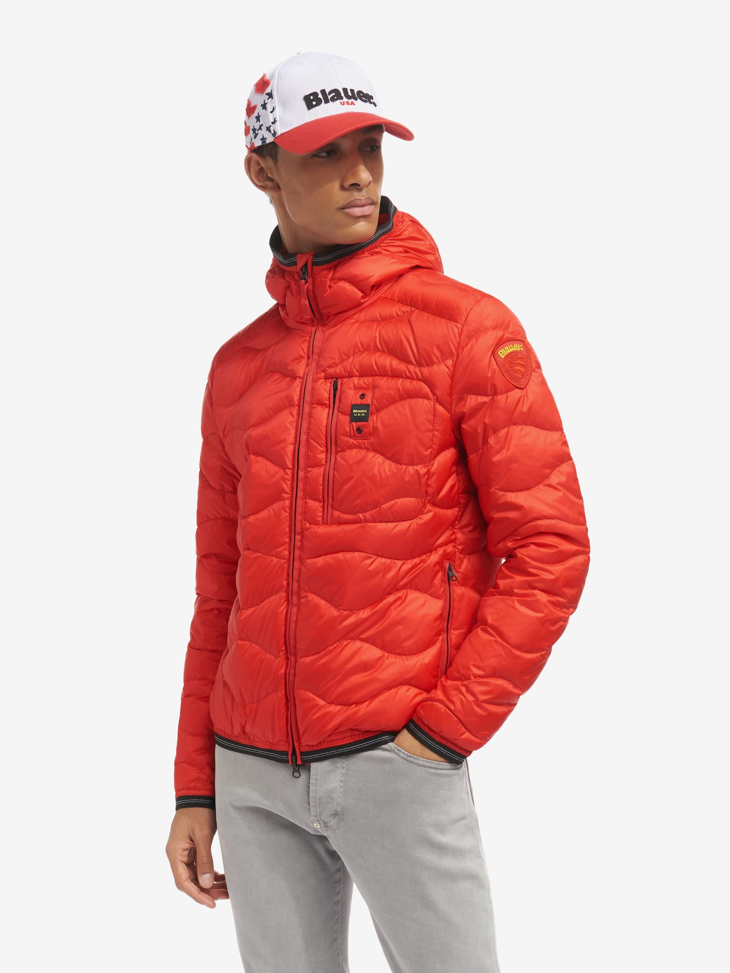 JEFFREY WAVE-QUILTED DOWN JACKET WITH TRIMMED HOOD - Blauer