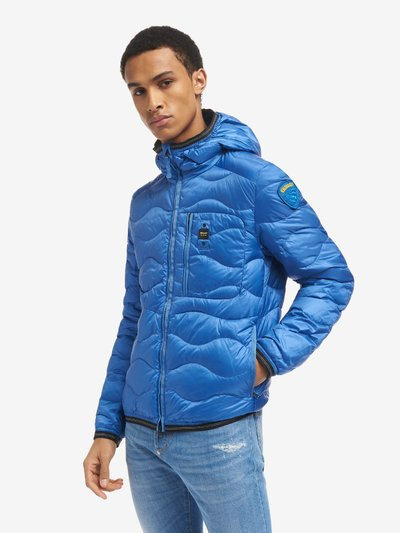 JEFFREY WAVE-QUILTED DOWN JACKET WITH TRIMMED HOOD