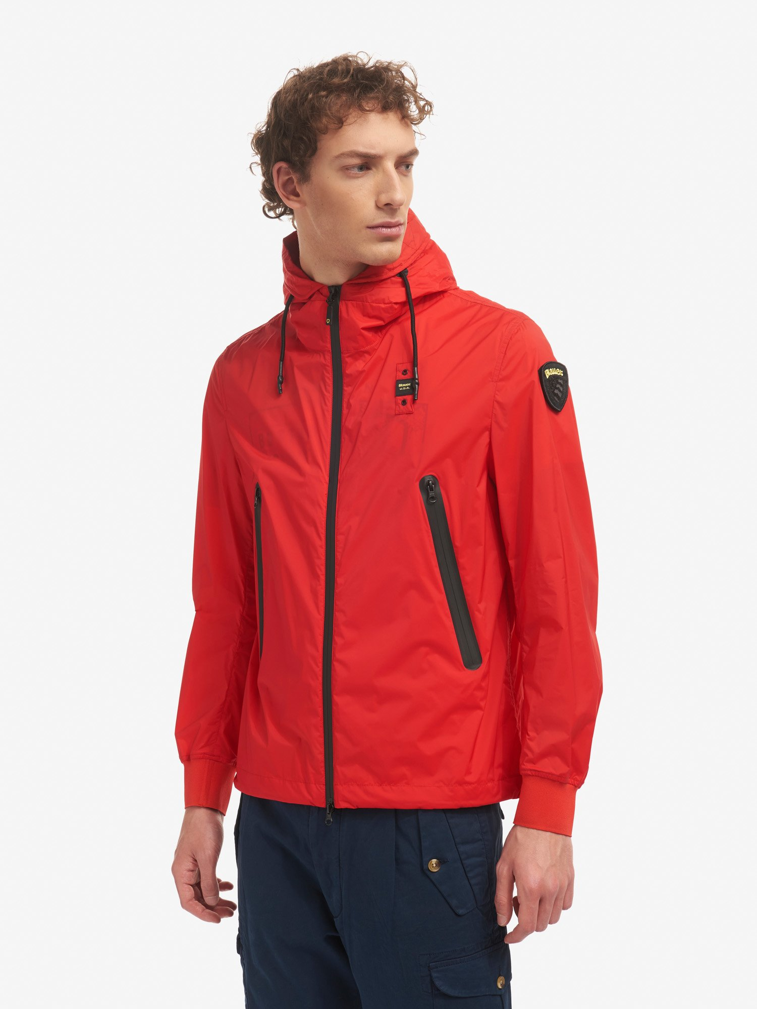 Blauer - ALFRED STRETCH UNLINED JACKET WITH HOOD - Bright Red - Blauer