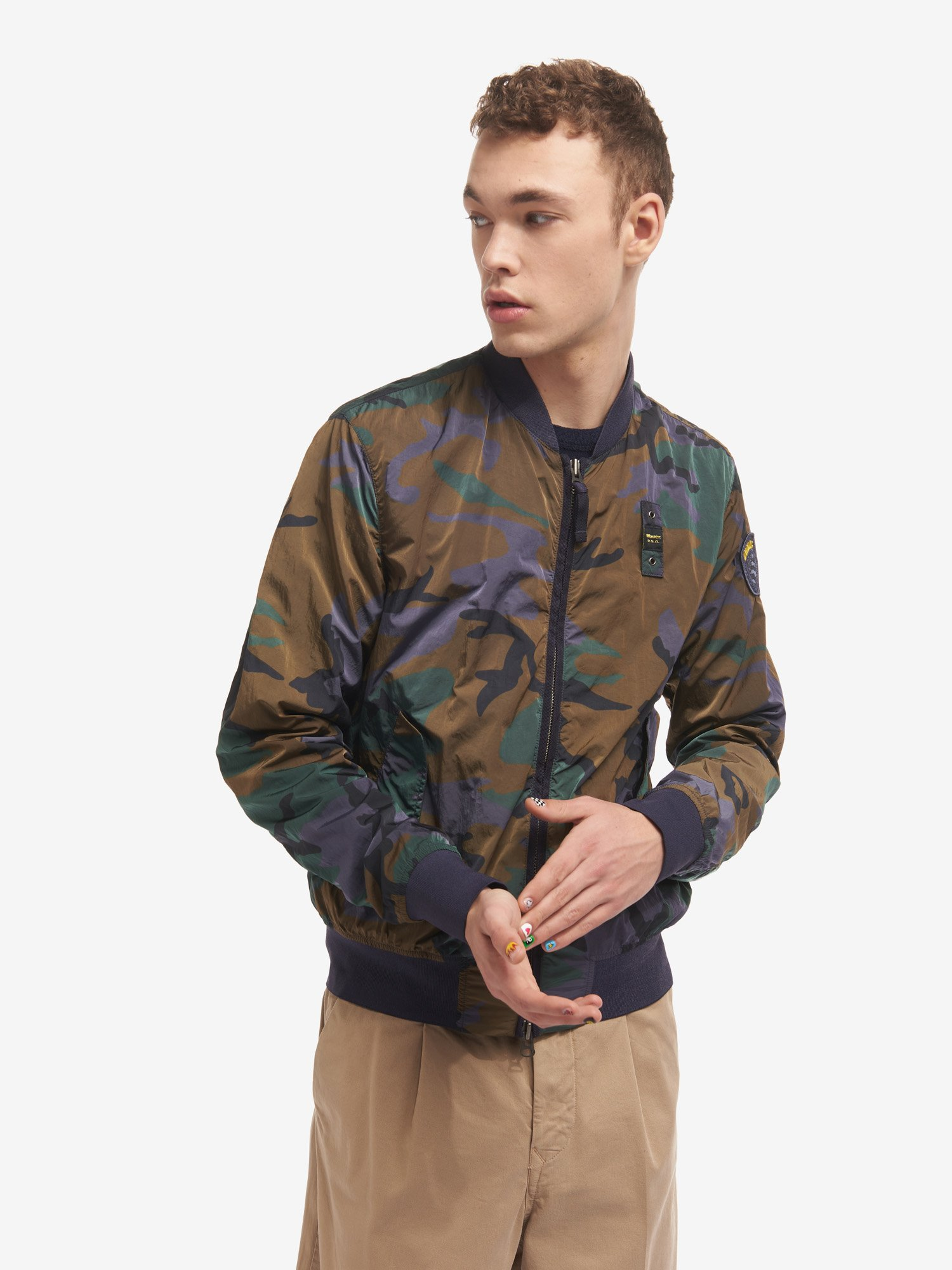 RAY GARMENT-DYED CAMOUFLAGE BOMBER JACKET - Blauer