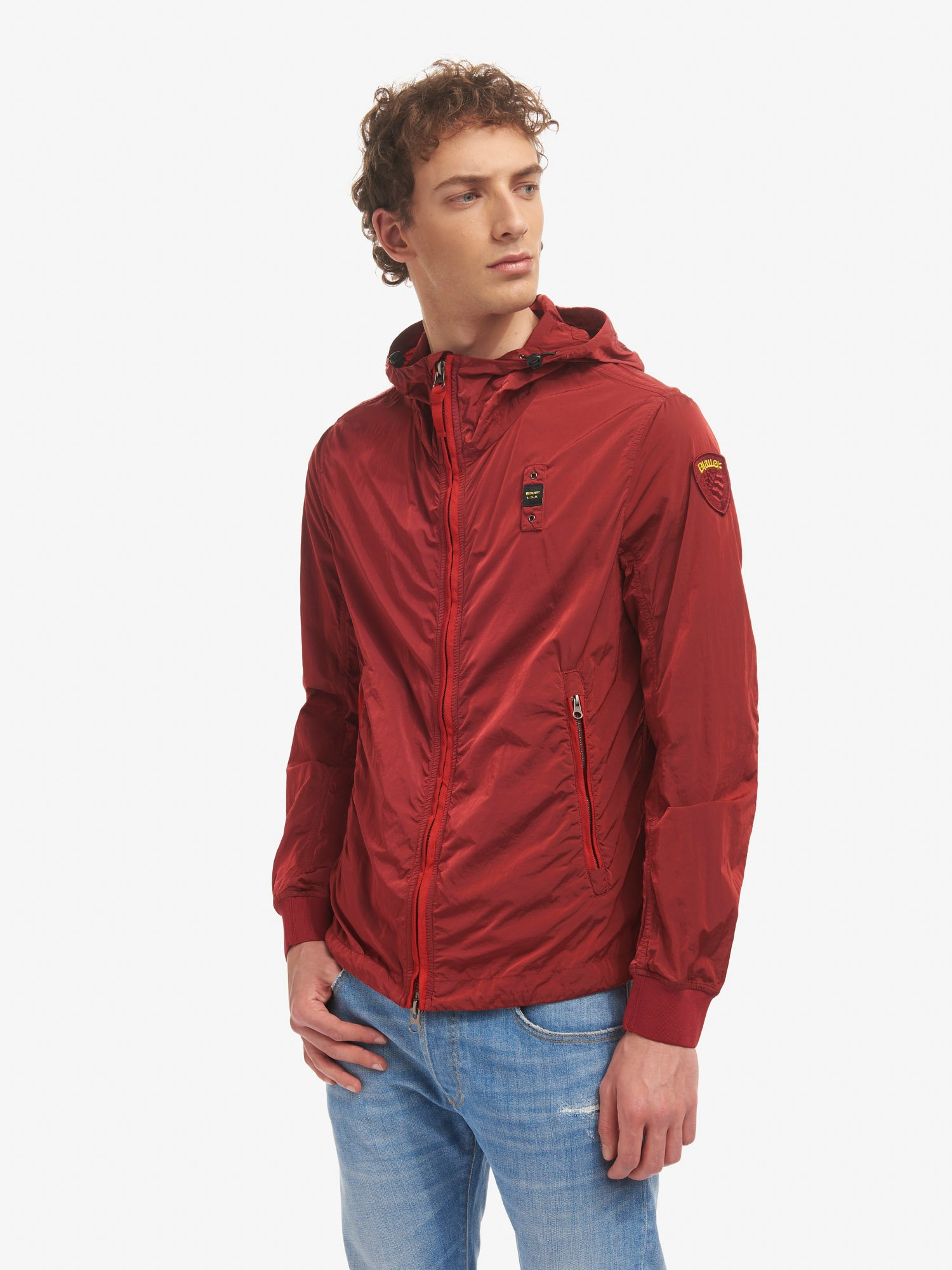 Blauer - FRANCIS GARMENT-DYED JACKET WITH HOOD - Bright Red - Blauer