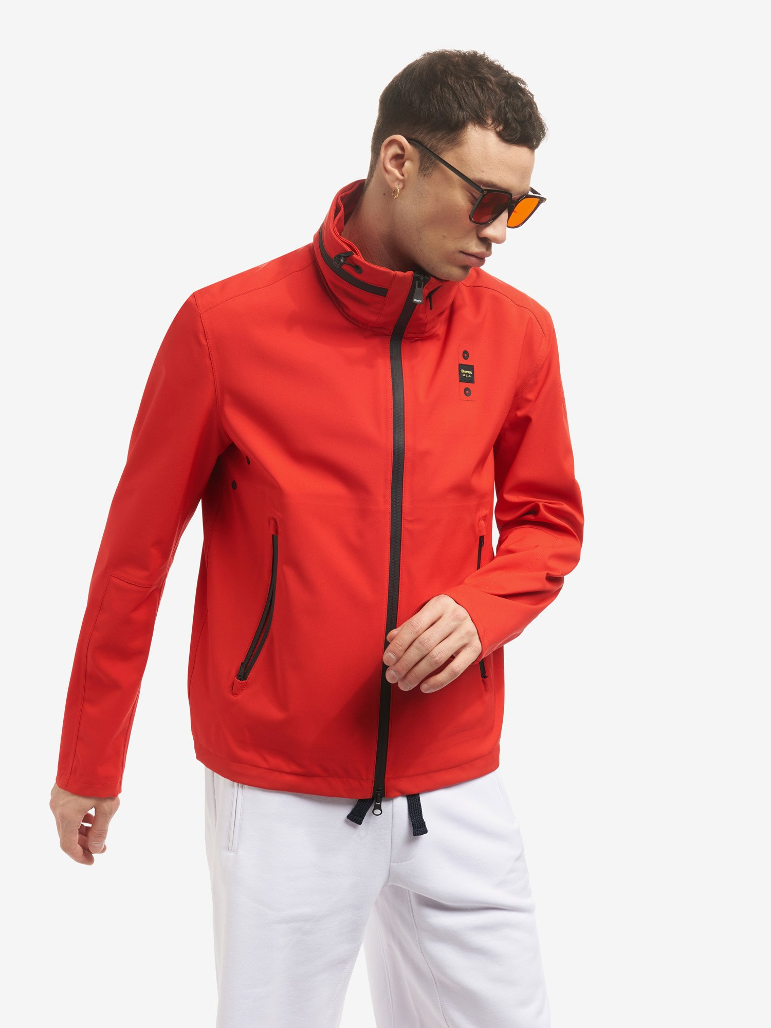 Blauer - RICKY STRETCH NEOPRENE JACKET - Bright Red - Blauer
