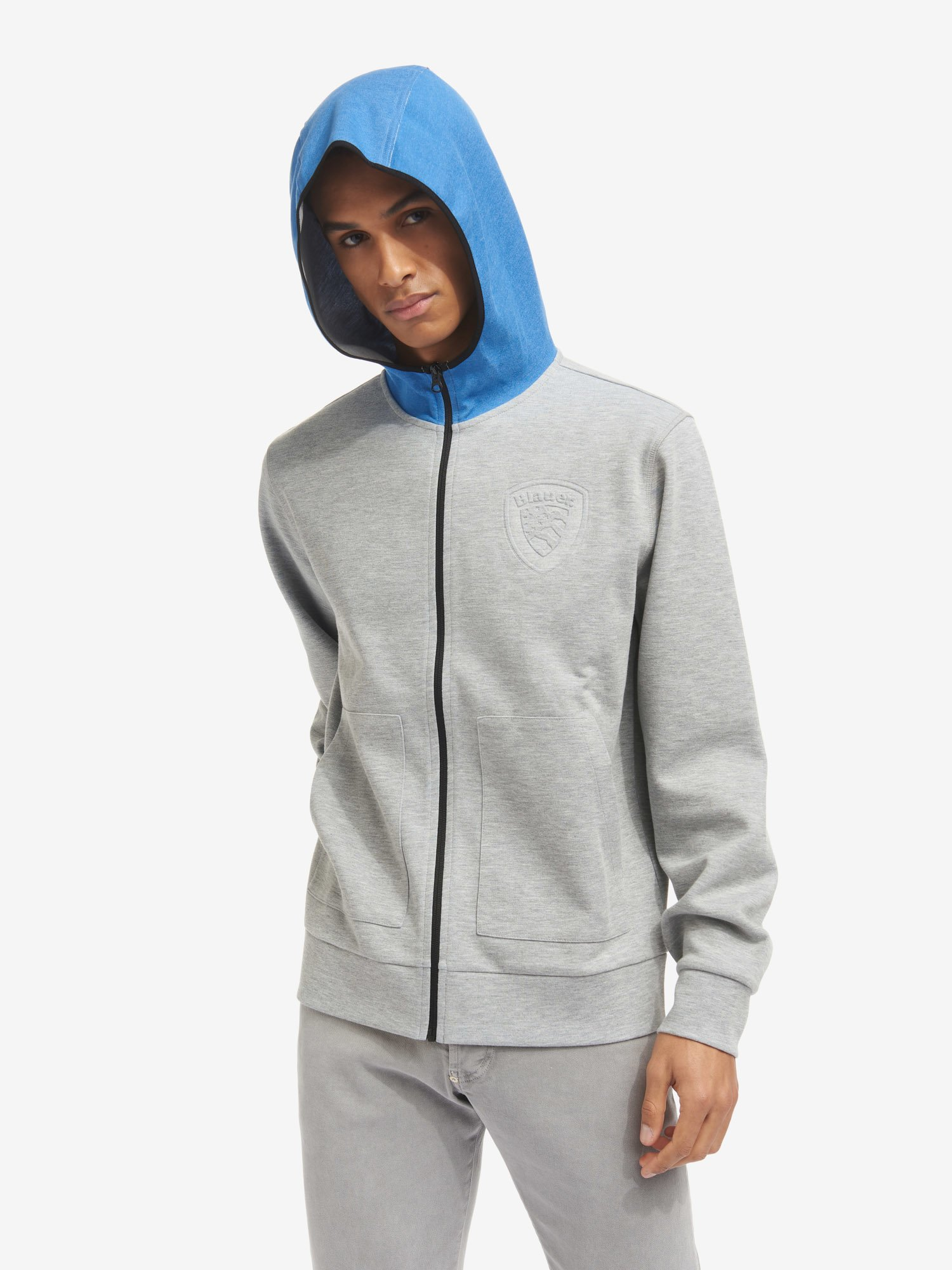 Blauer - SWEATSHIRT WITH HOOD AND TWO-TONE ZIP - Grey Melange Ins. Sapphire Blue - Blauer
